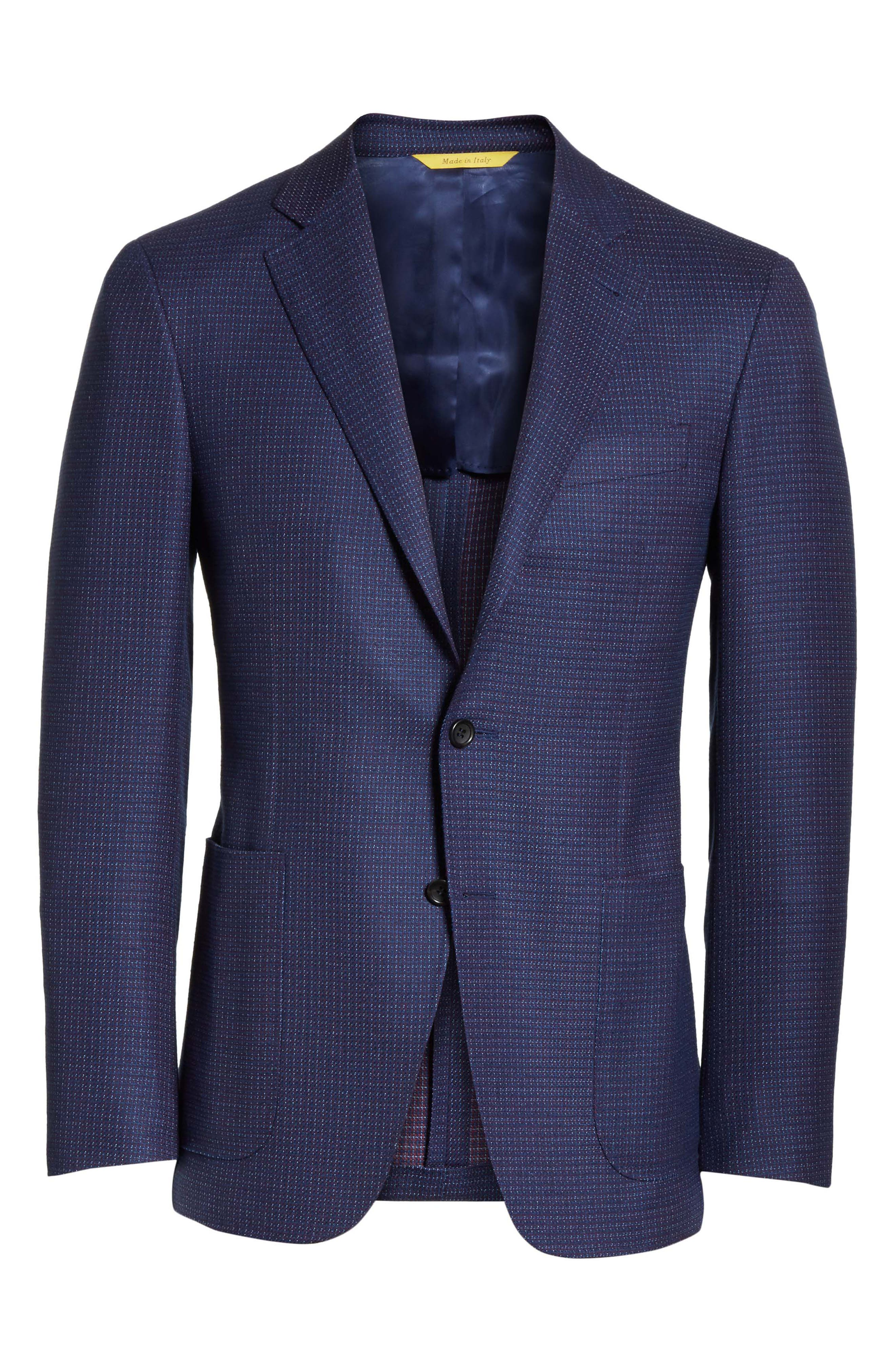 Classic Fit Check Wool Sport Coat,                             Alternate thumbnail 6, color,                             Blue