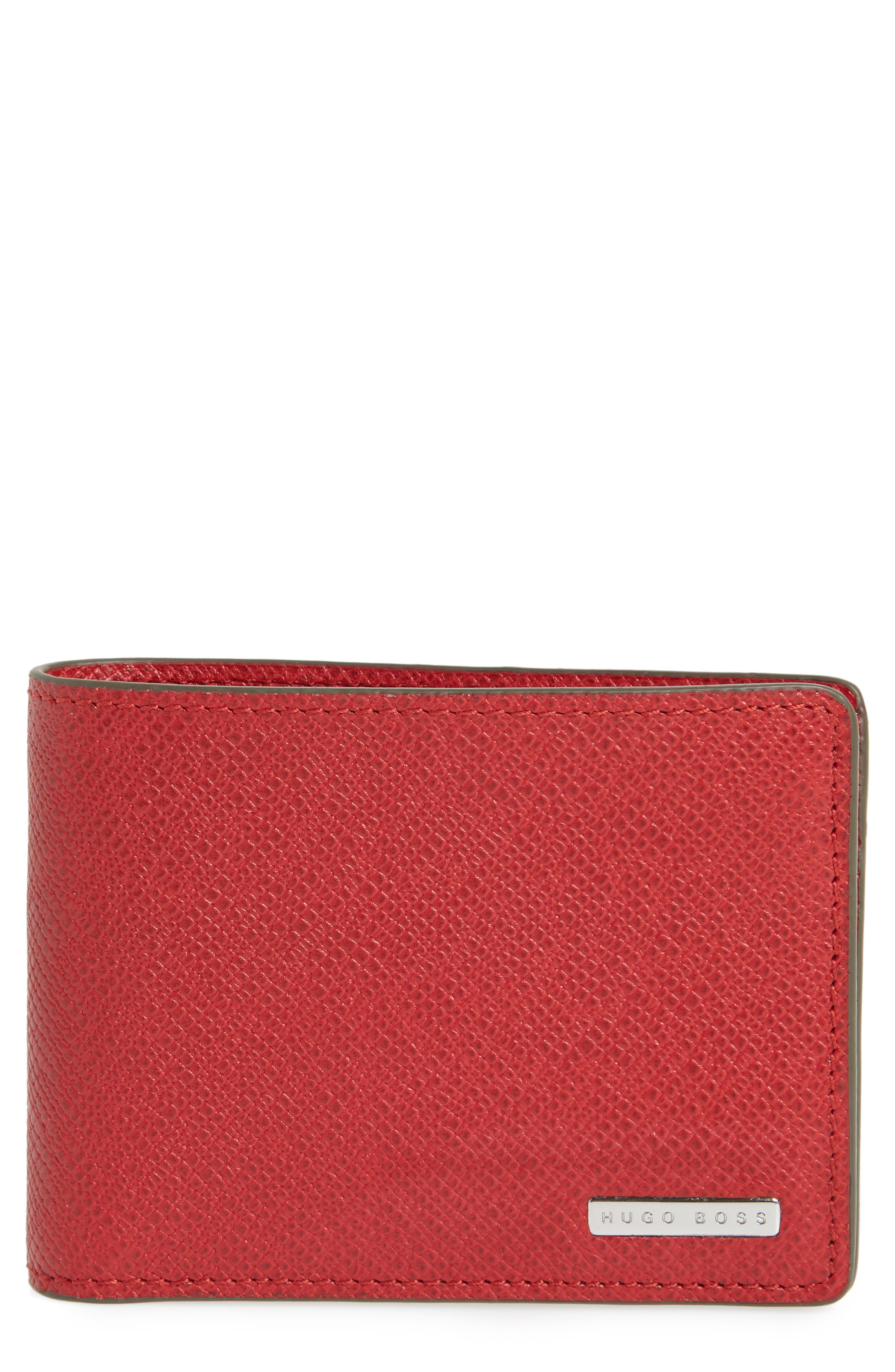 'Signature' Bifold Wallet,                             Main thumbnail 1, color,                             Bright Red