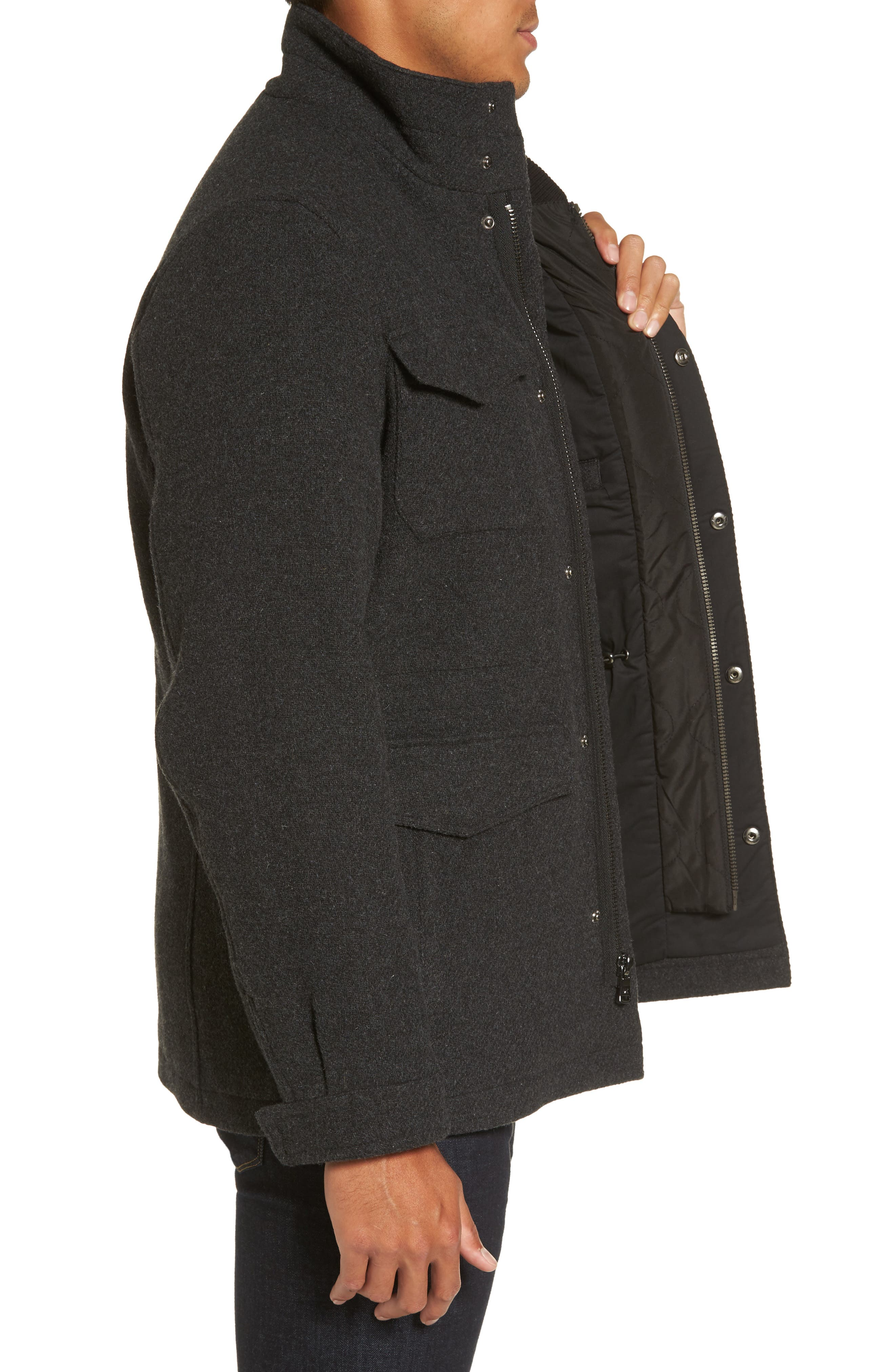 Regular Fit Double Layer Field Jacket,                             Alternate thumbnail 3, color,                             Charcoal/ Black