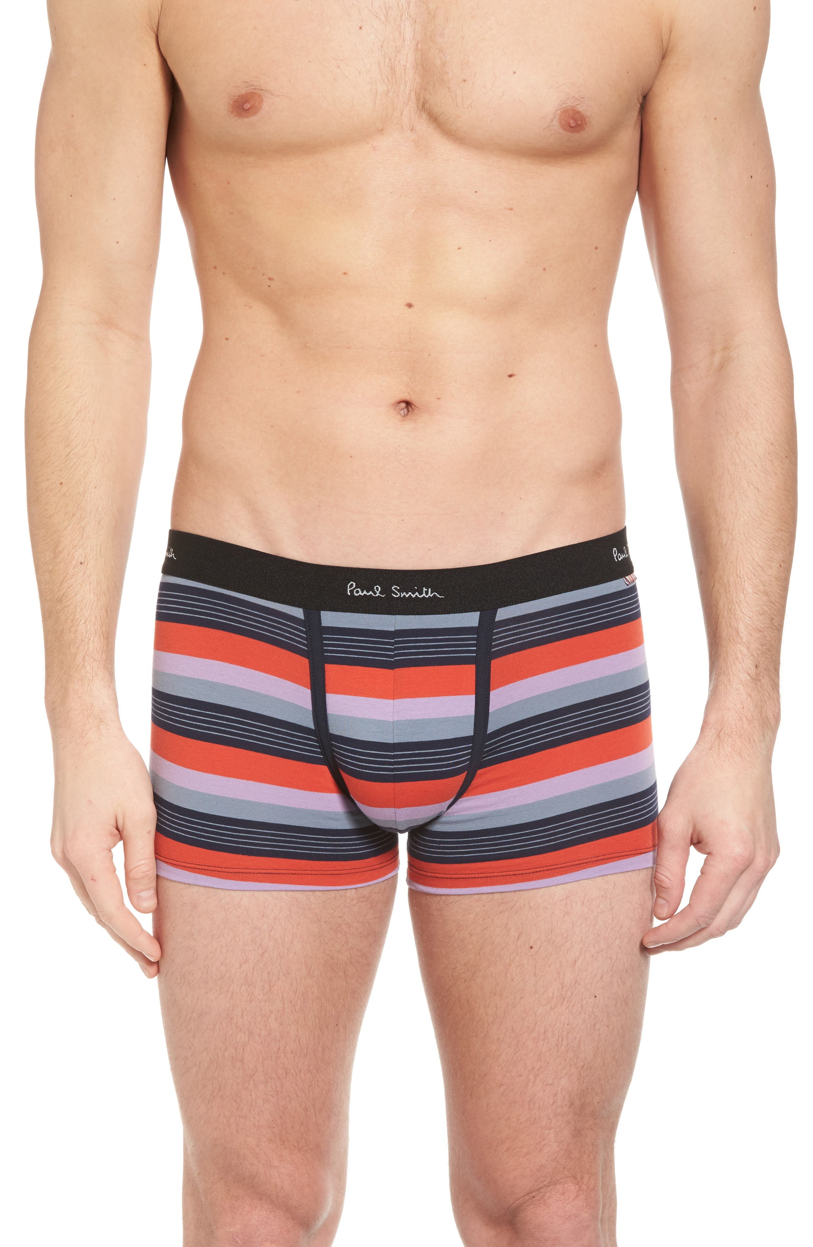 Stripe Stretch Cotton Trunks,                         Main,                         color, Orange Multi