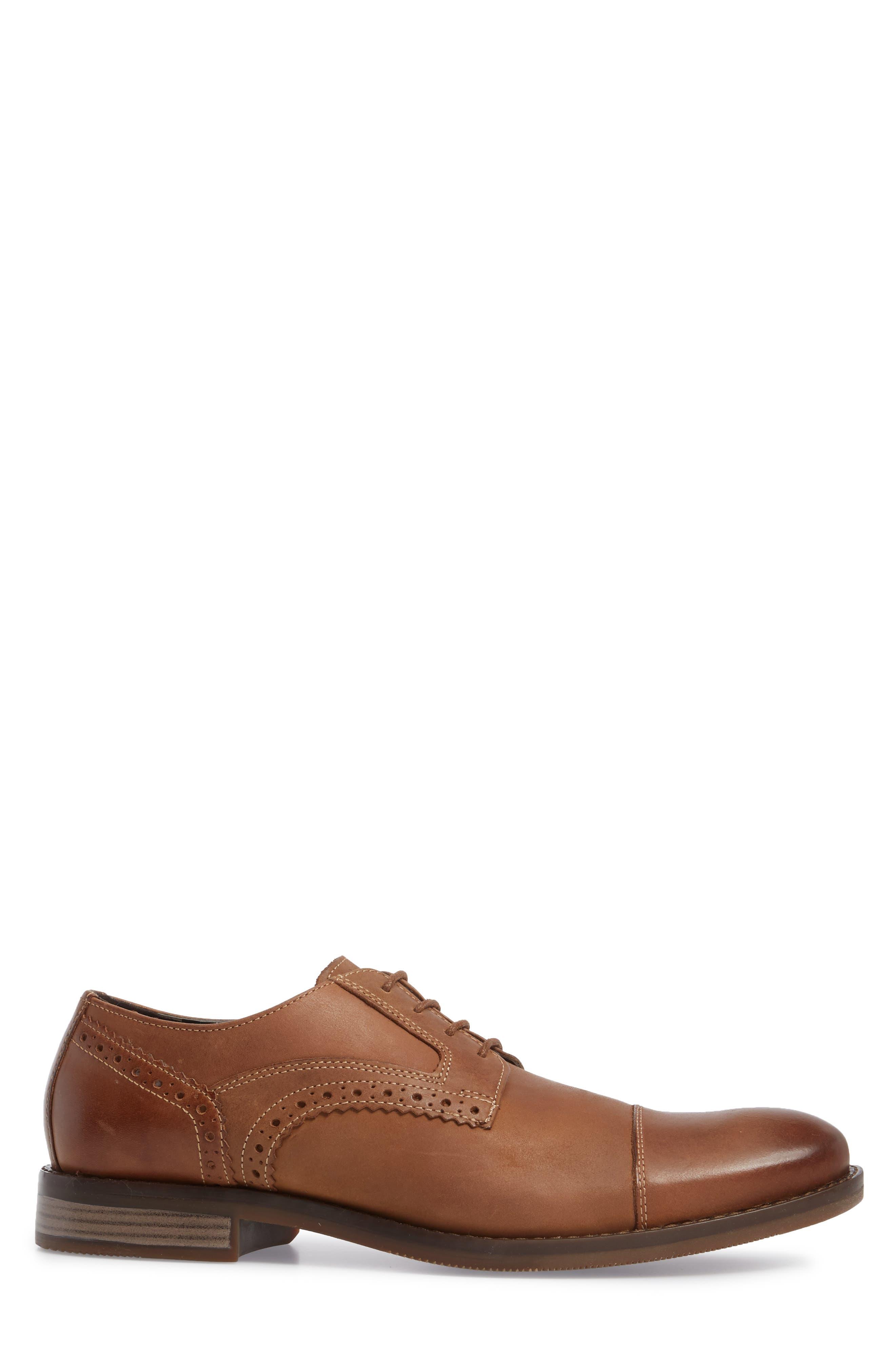 Wynston Cap Toe Blucher,                             Alternate thumbnail 3, color,                             Tobacco Leather
