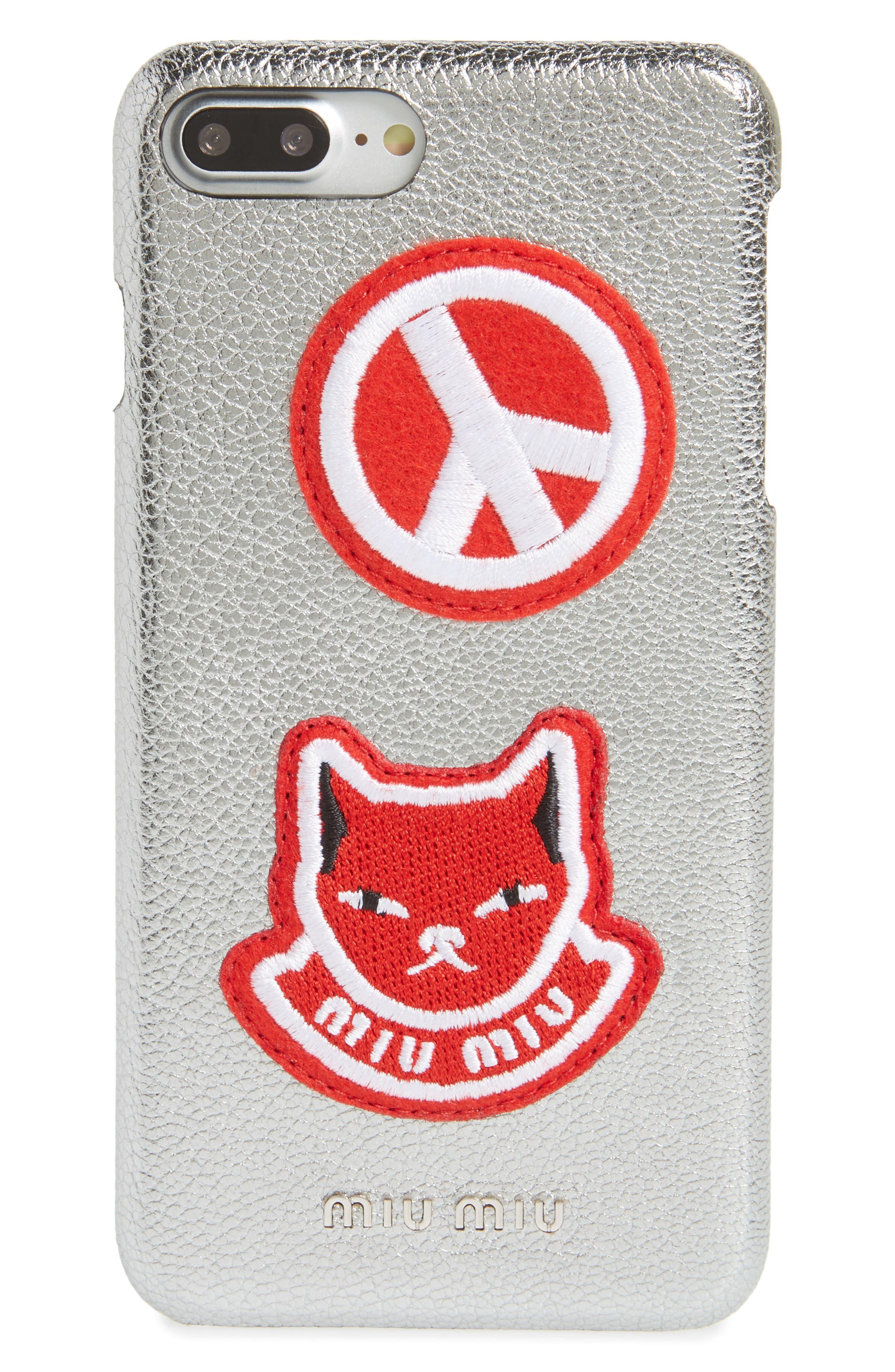 Main Image - Miu Miu Madras Pop Patch Leather iPhone 7 Plus Case