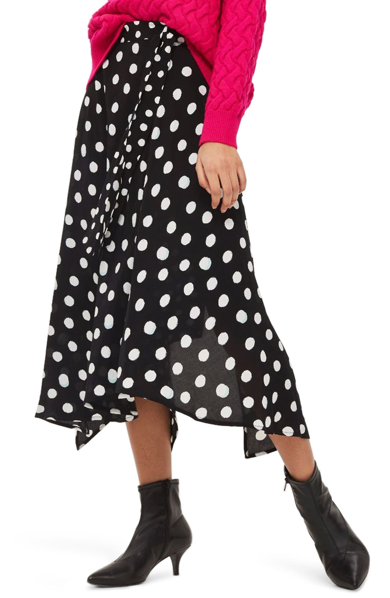 Polka Dot Handkerchief Hem Skirt,                             Main thumbnail 1, color,                             Black Multi