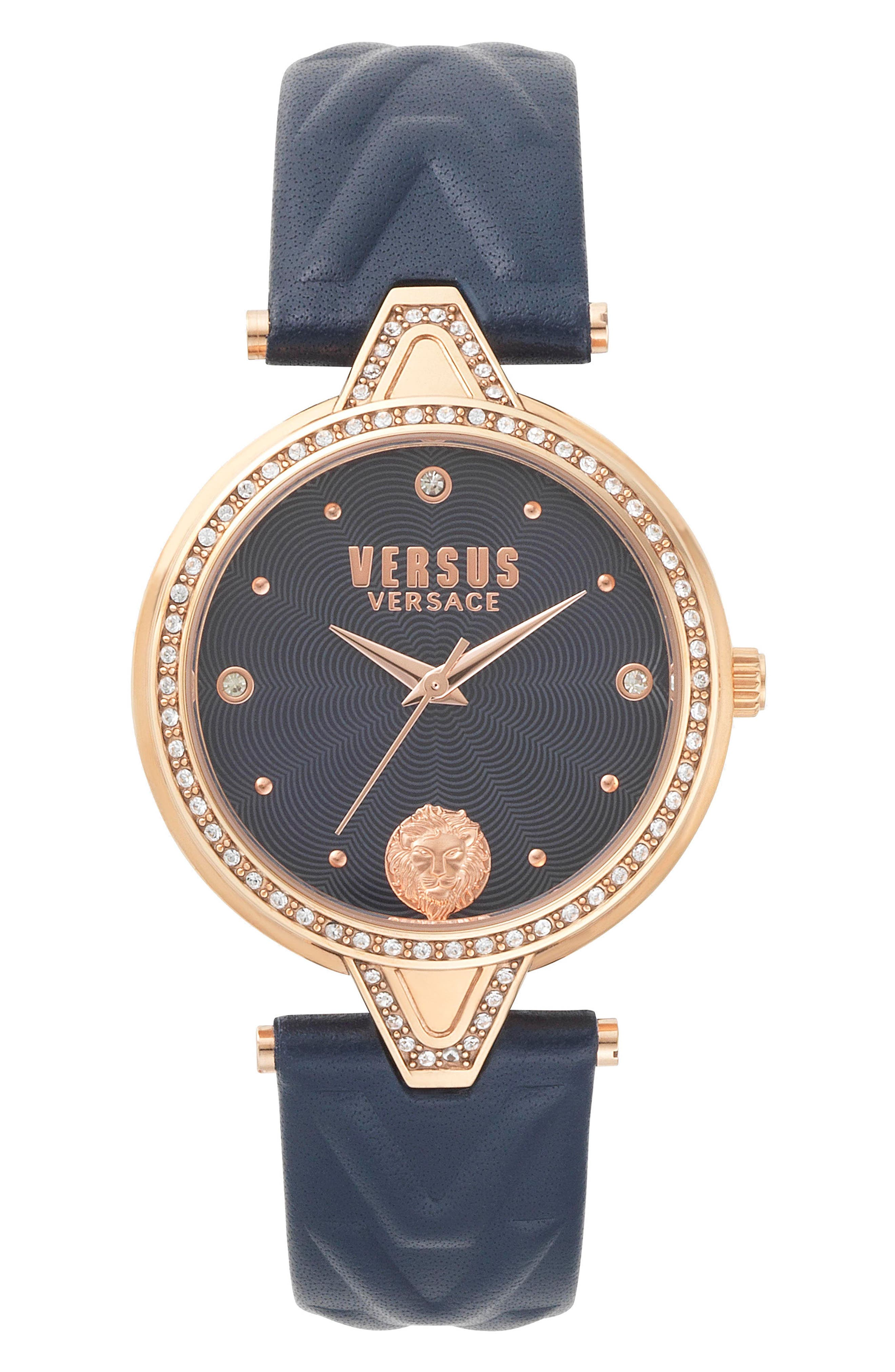 VERSUS by Versace V Versus Leather Strap Watch, 34mm,                             Main thumbnail 1, color,                             Blue/ Rose Gold