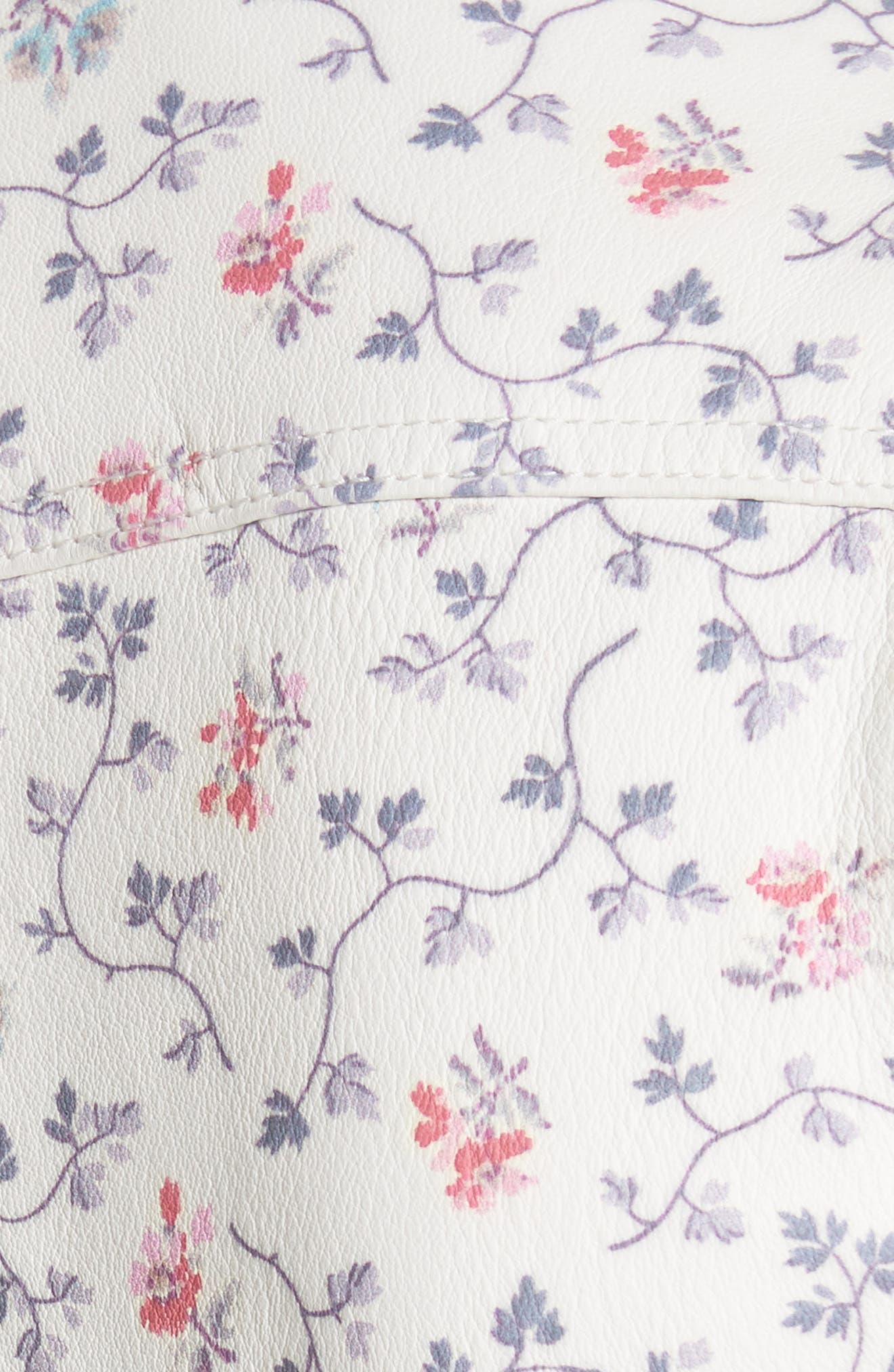 Floral Vine Leather Jacket,                             Alternate thumbnail 5, color,                             Vanilla