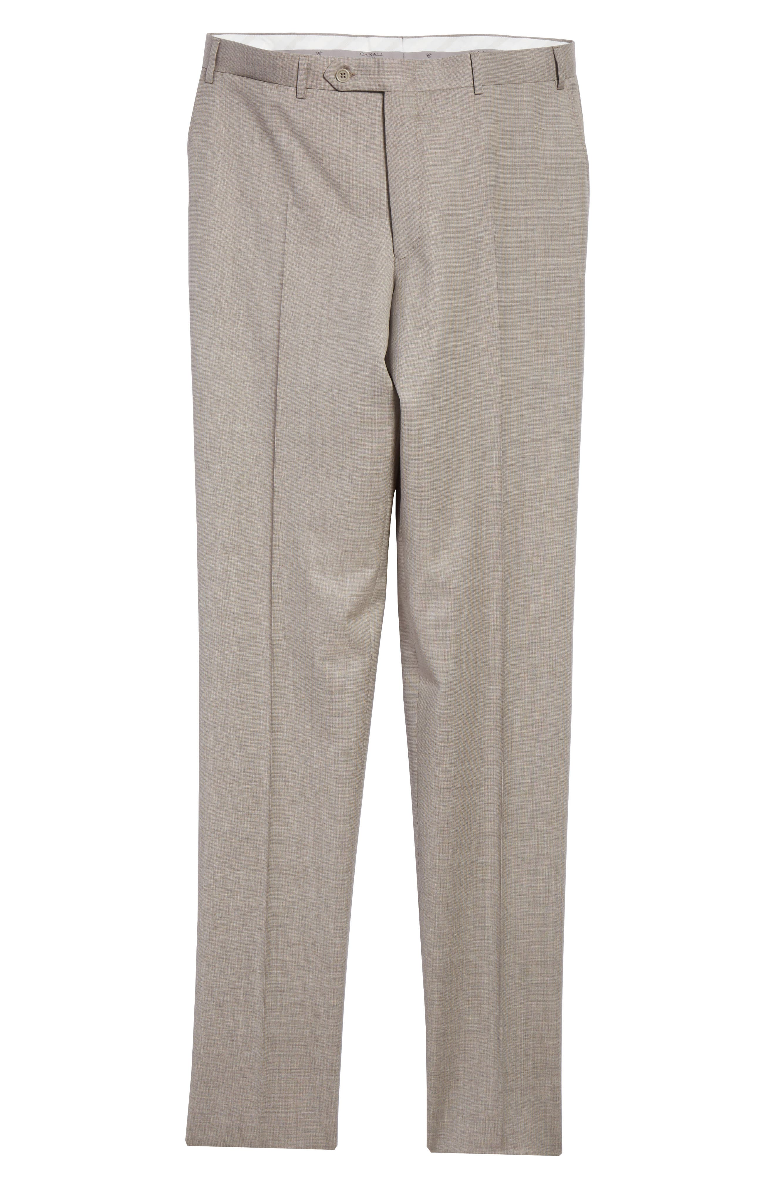 Flat Front Solid Wool Trousers,                             Alternate thumbnail 6, color,                             Tan