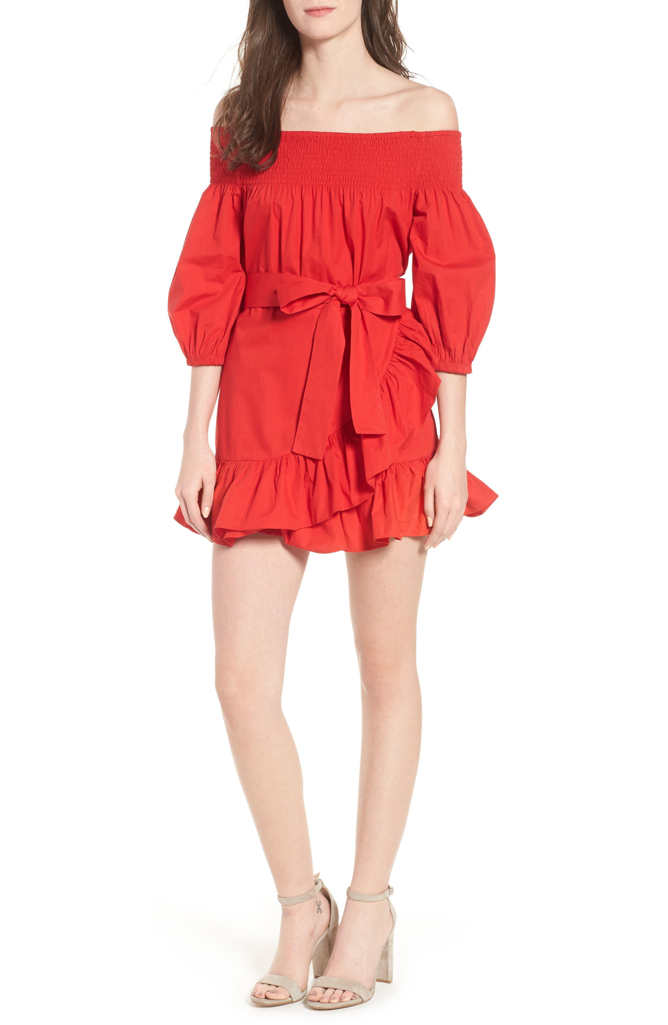 Maida Faux Wrap Ruffle Dress,                             Main thumbnail 1, color,                             Poppy