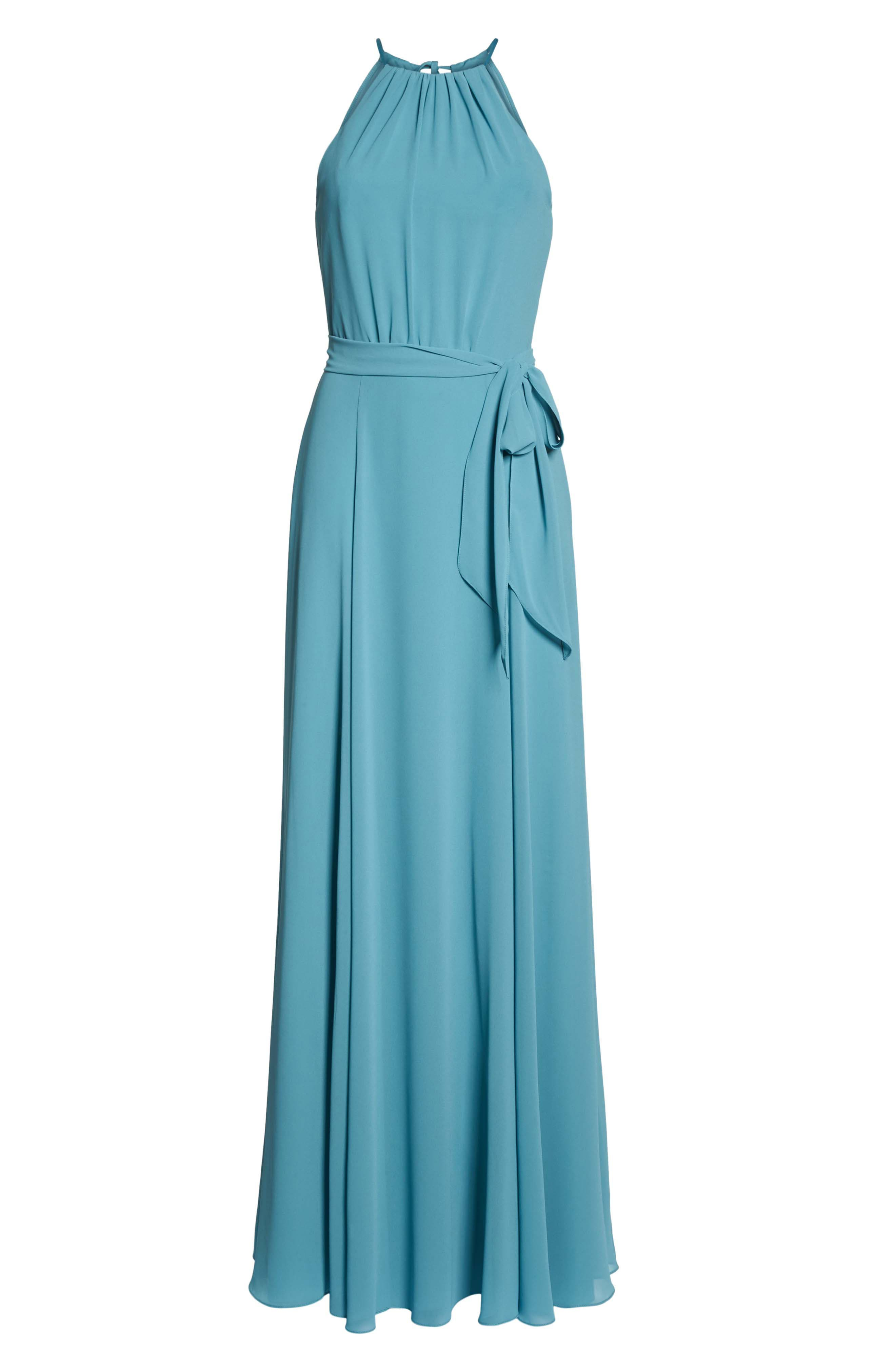 Kyra Chiffon Halter Gown,                             Alternate thumbnail 6, color,                             Teal