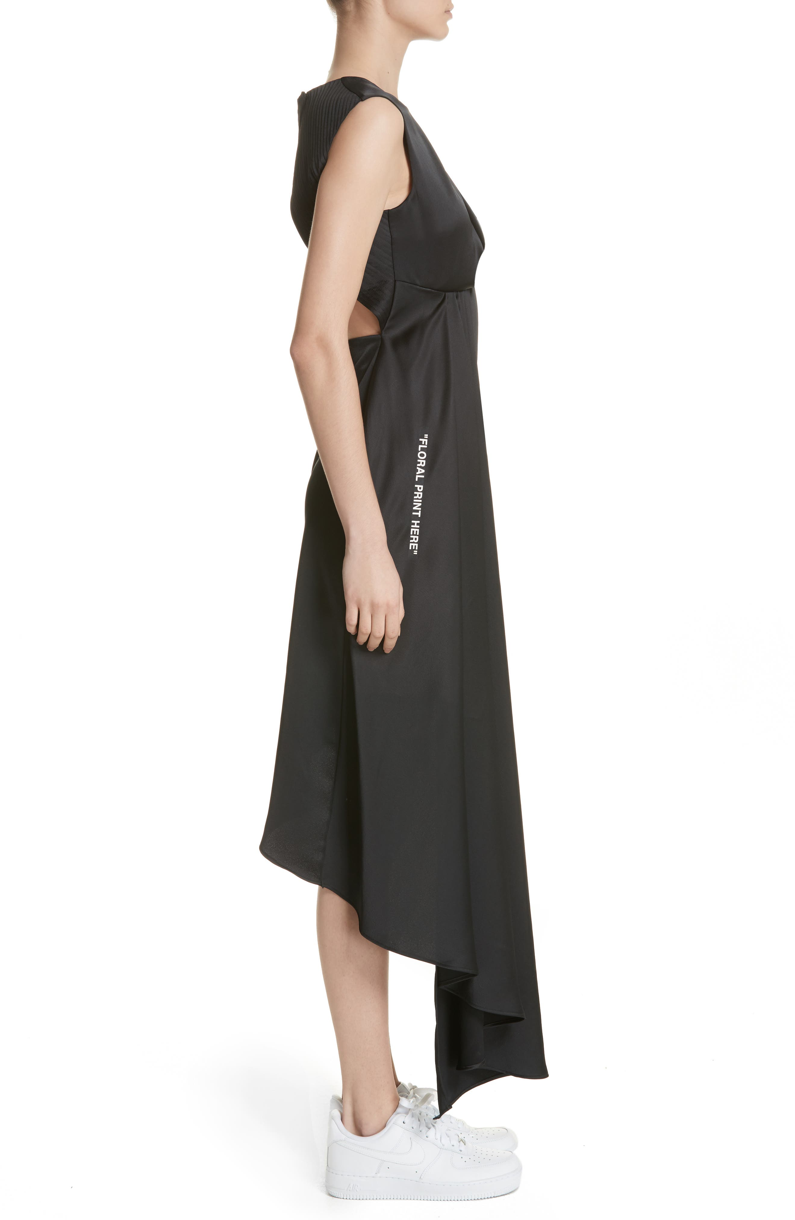 Alternate Image 3  - Off-White Asymmetric Satin Dress