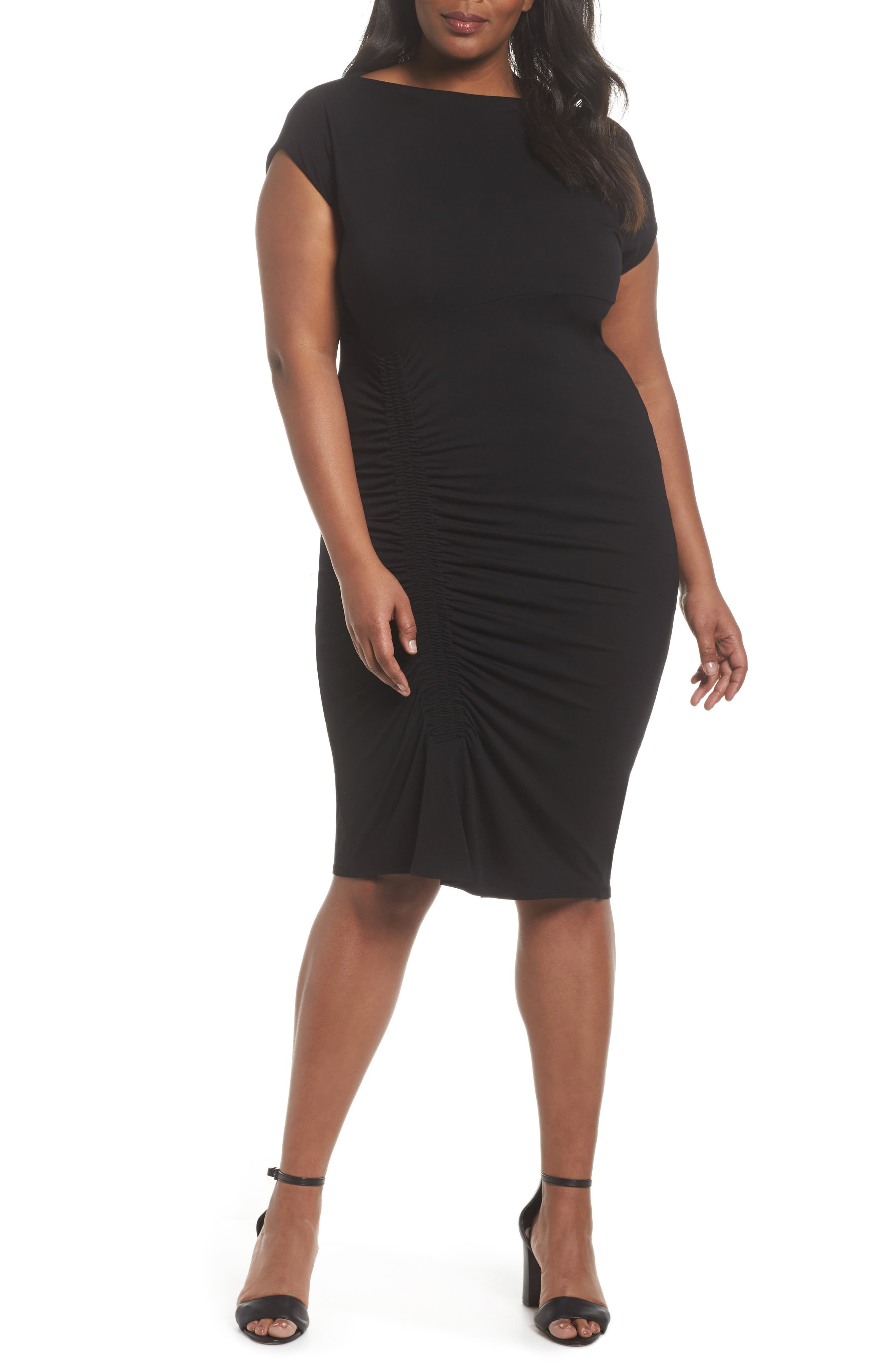 Side Ruched Sheath Dress,                             Main thumbnail 1, color,                             Rich Black