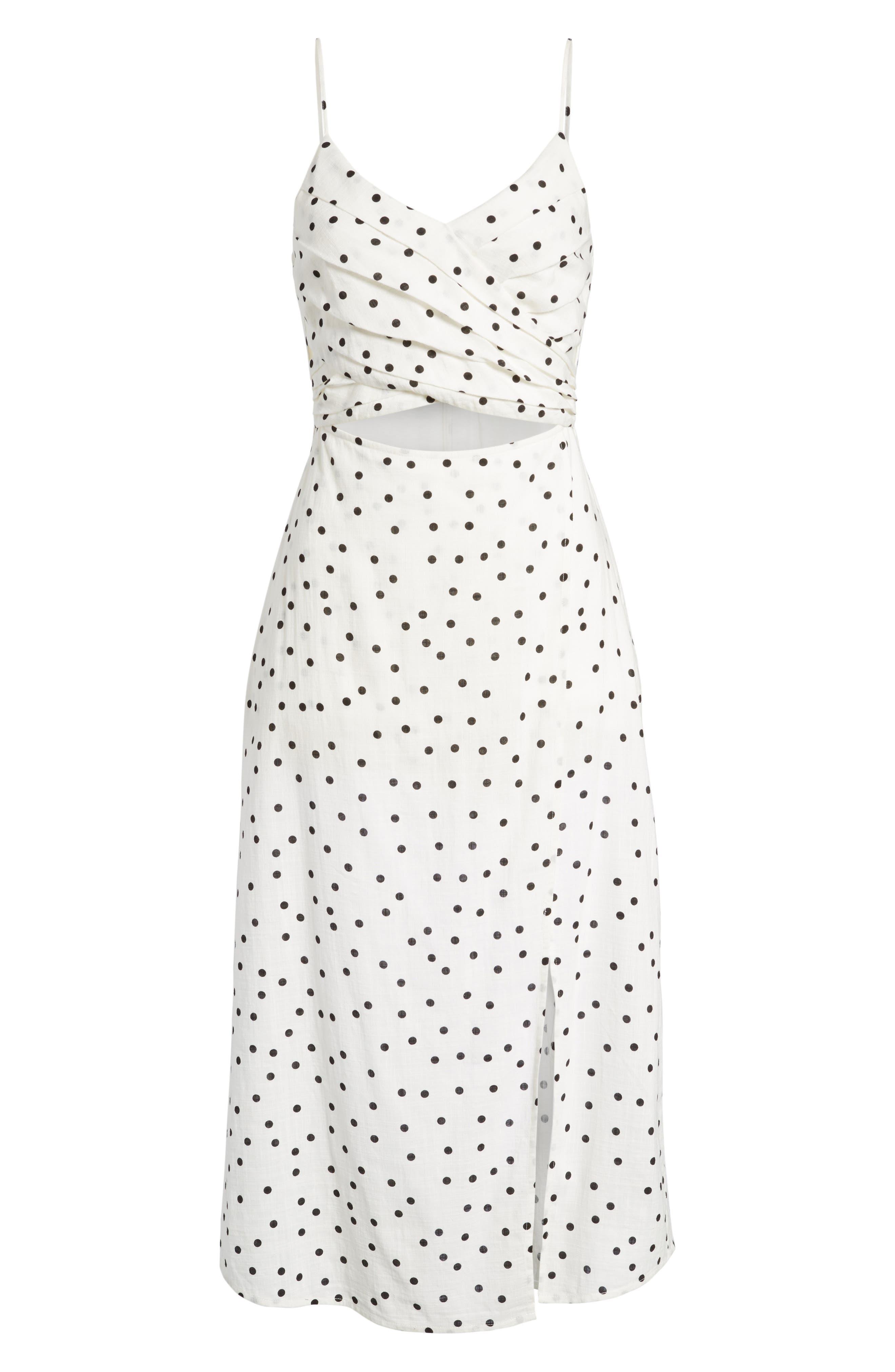 Cutout Midi Dress,                             Alternate thumbnail 6, color,                             Ivory/ Black Dot