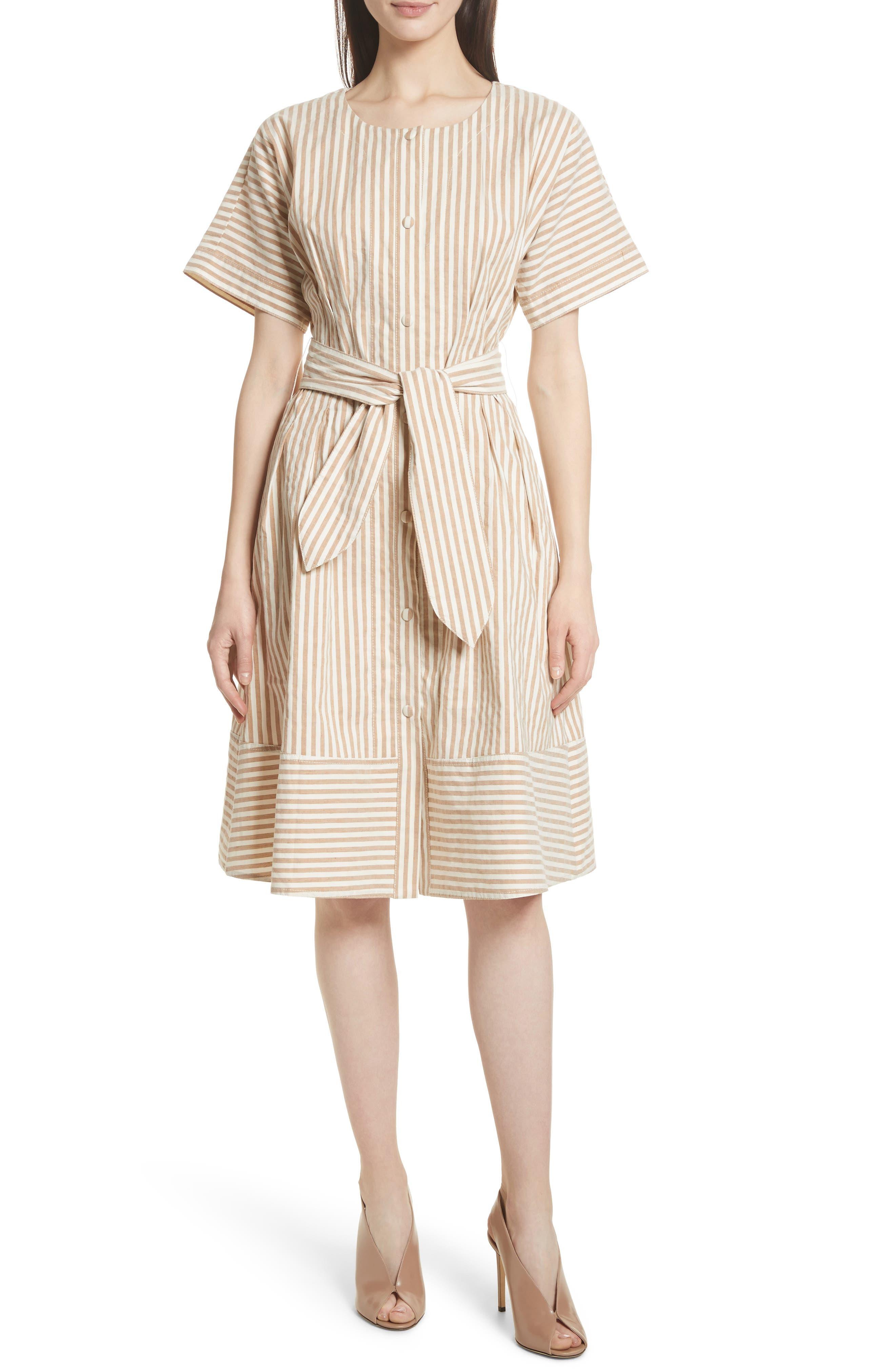 GREY Jason Wu Vintage Stripe Stretch Cotton & Linen Dress
