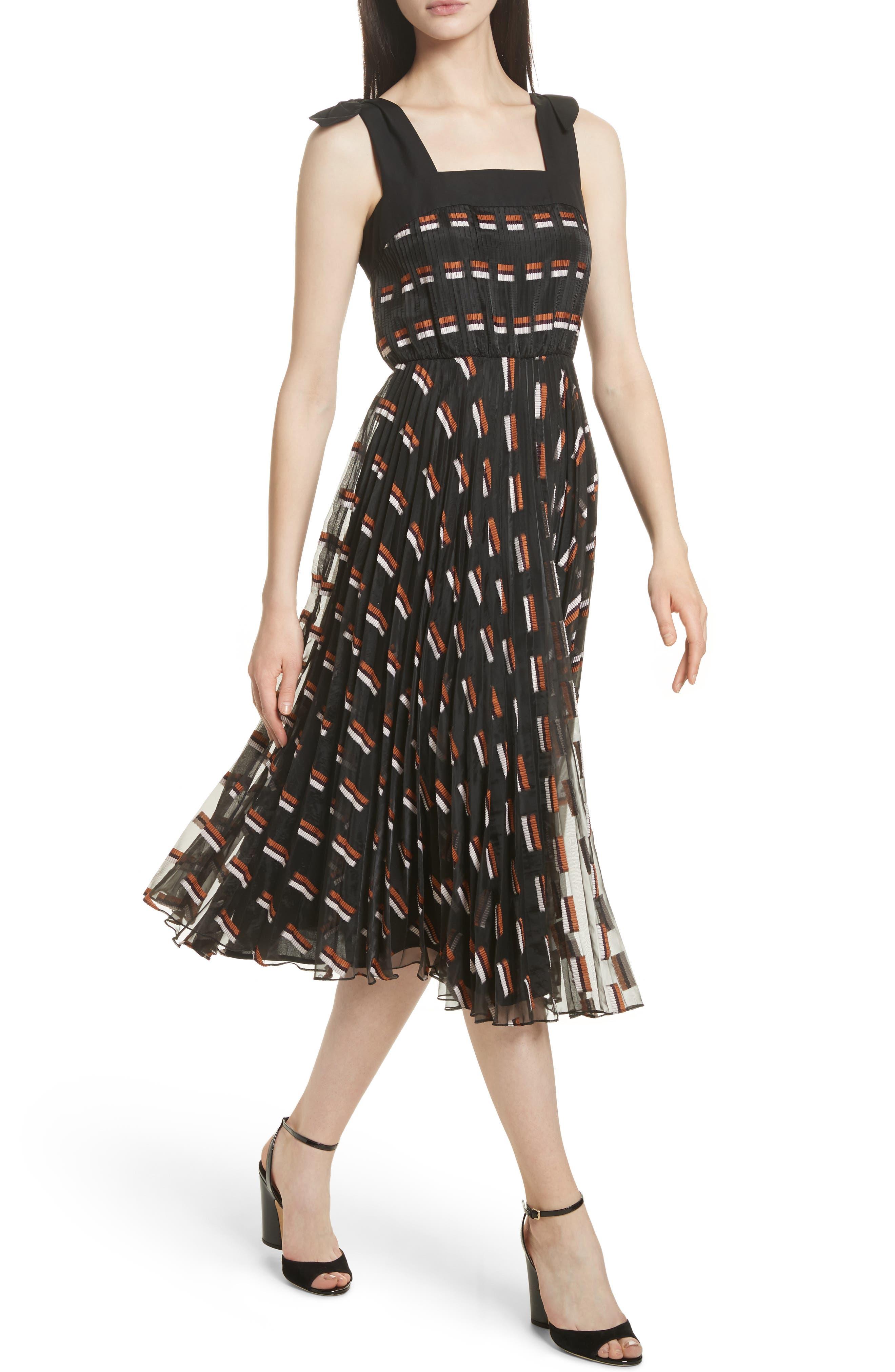 Fil Coupé Midi Dress,                             Alternate thumbnail 6, color,                             Ginger Multi