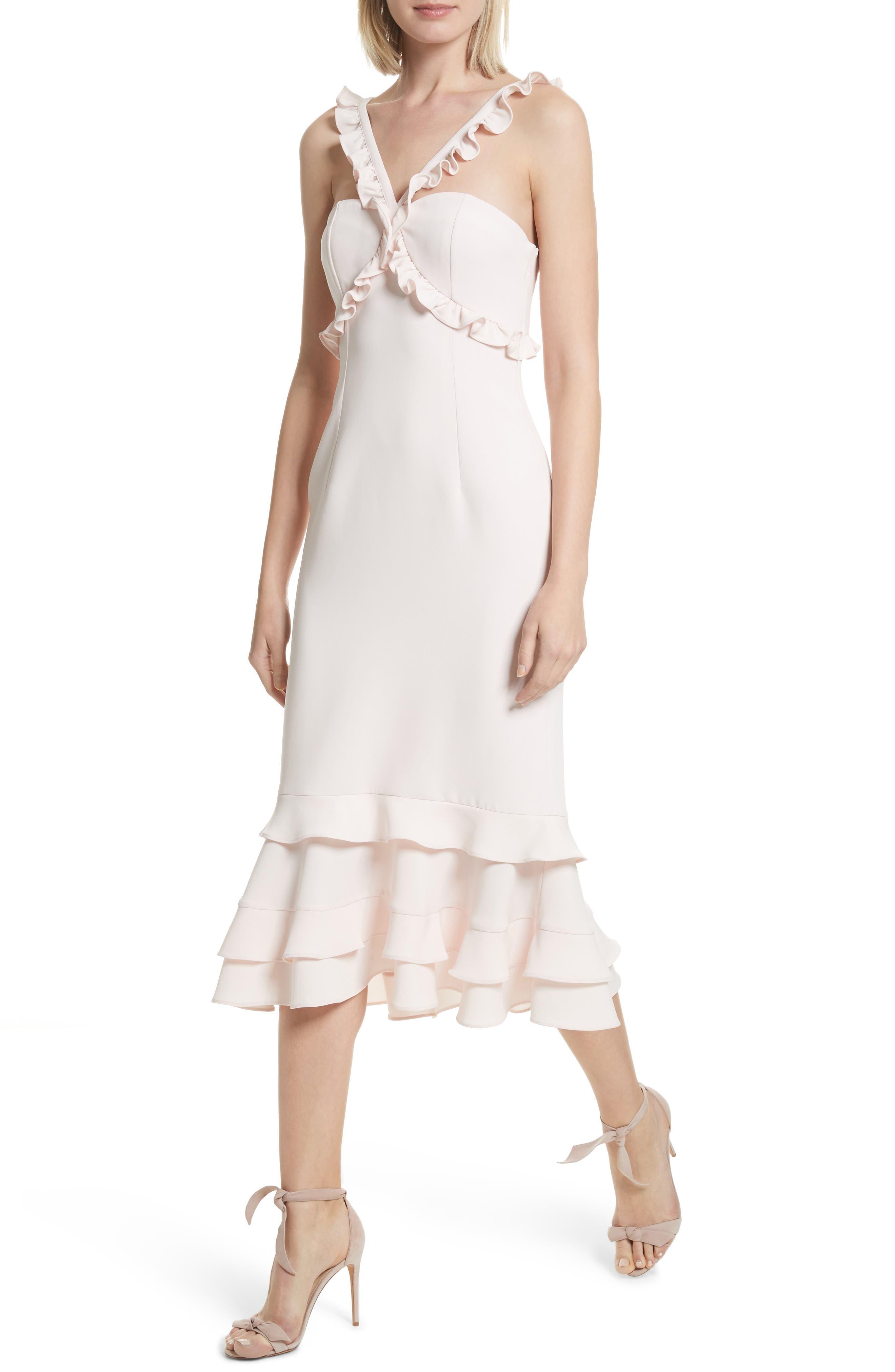 Kimora Ruffle Detail Dress,                             Alternate thumbnail 4, color,                             Pearl Blush