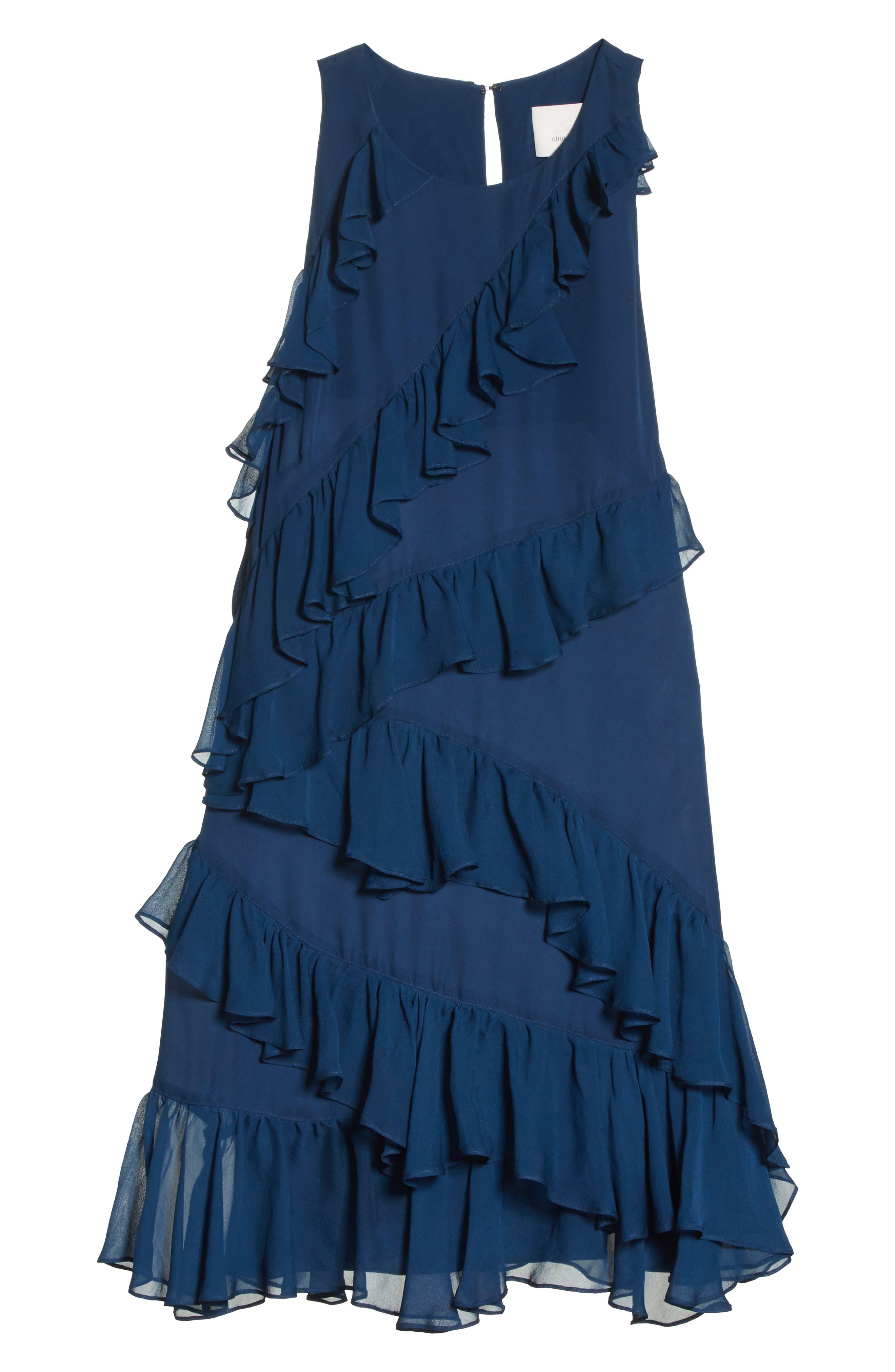 Taghrid Ruffle Silk Dress,                             Alternate thumbnail 6, color,                             Lapis