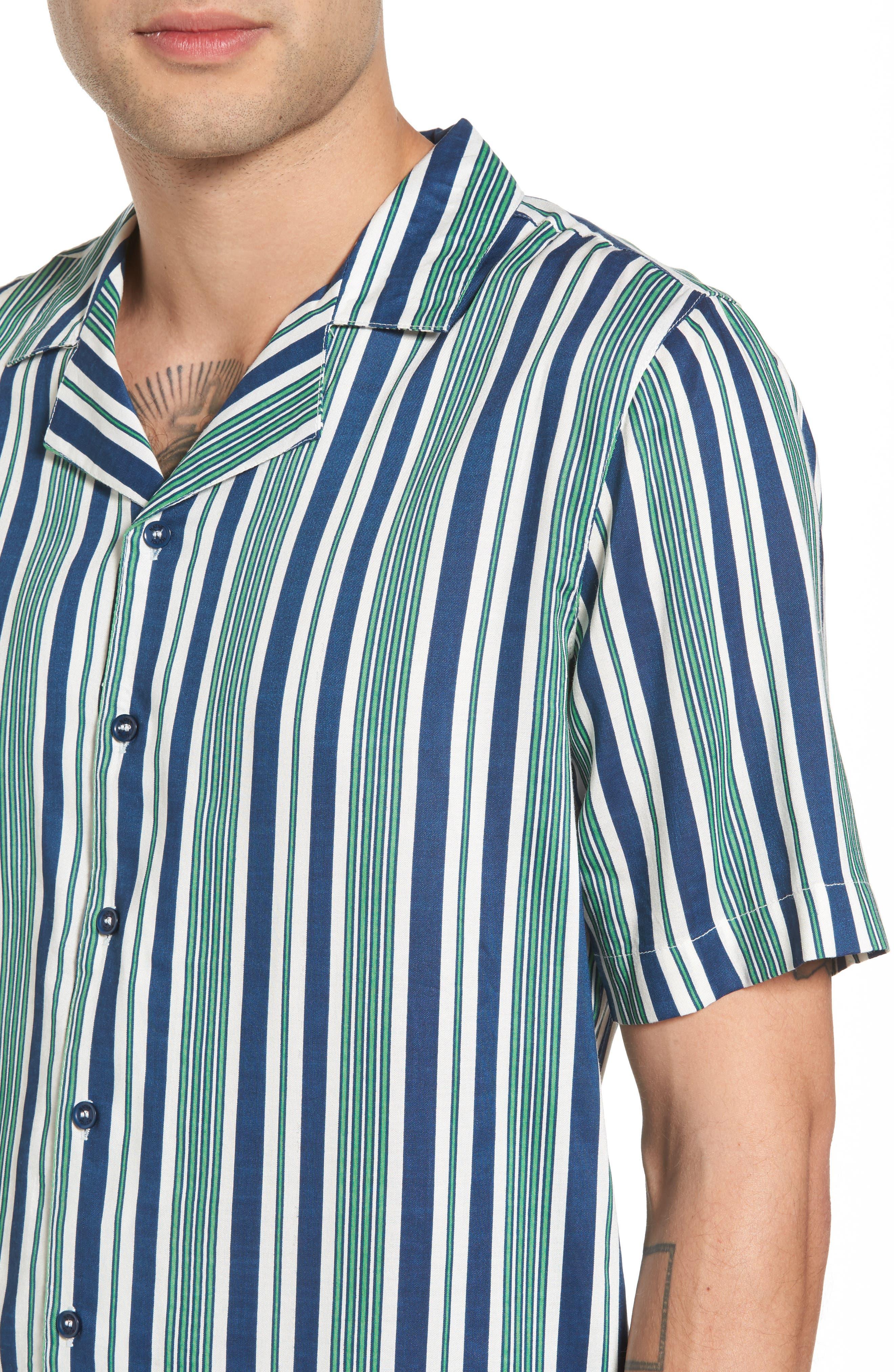 Bay Stripe Woven Shirt,                             Alternate thumbnail 4, color,                             Green