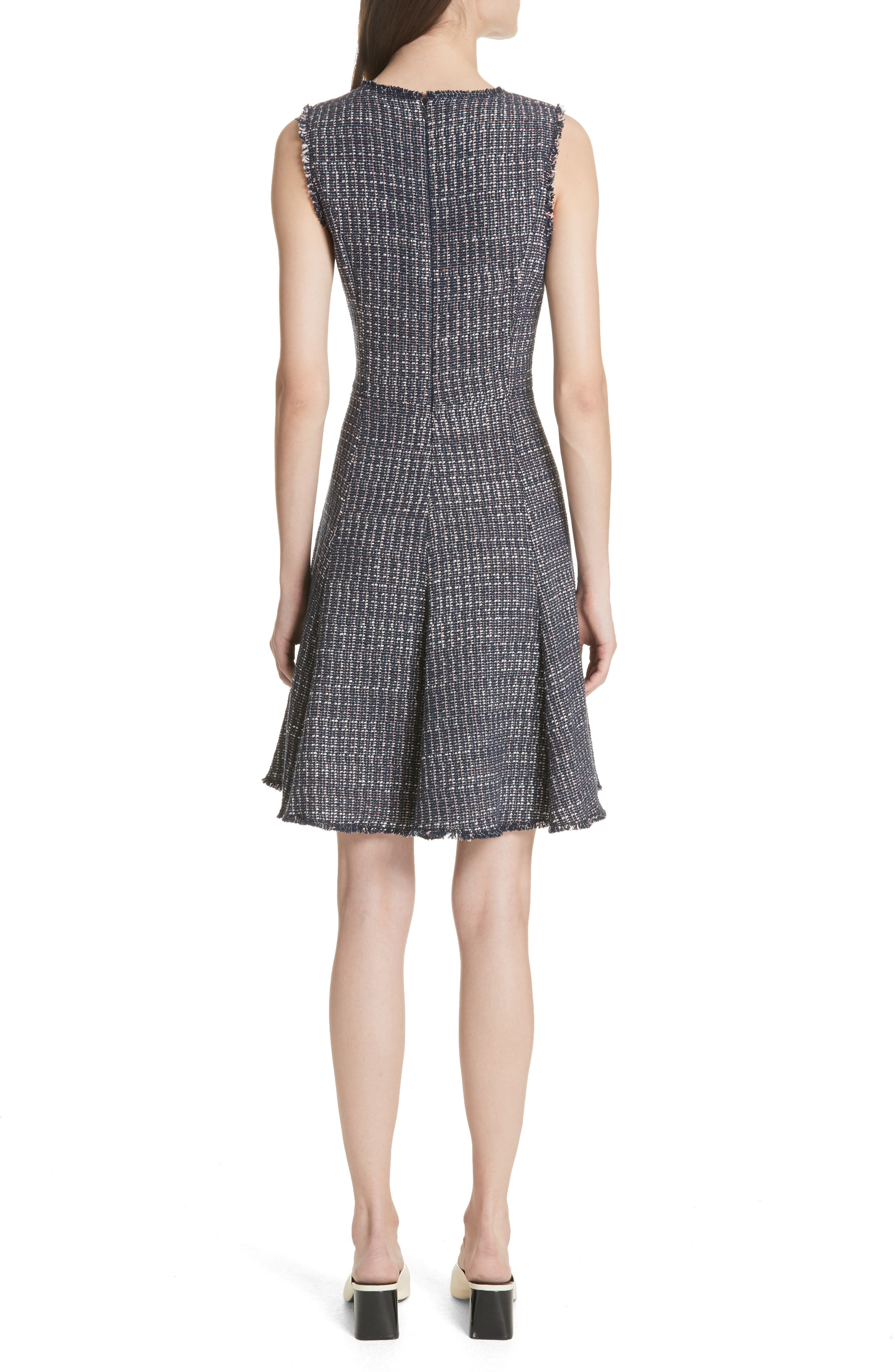 Multi Tweed Fit & Flare Dress,                             Alternate thumbnail 2, color,                             Navy Combo