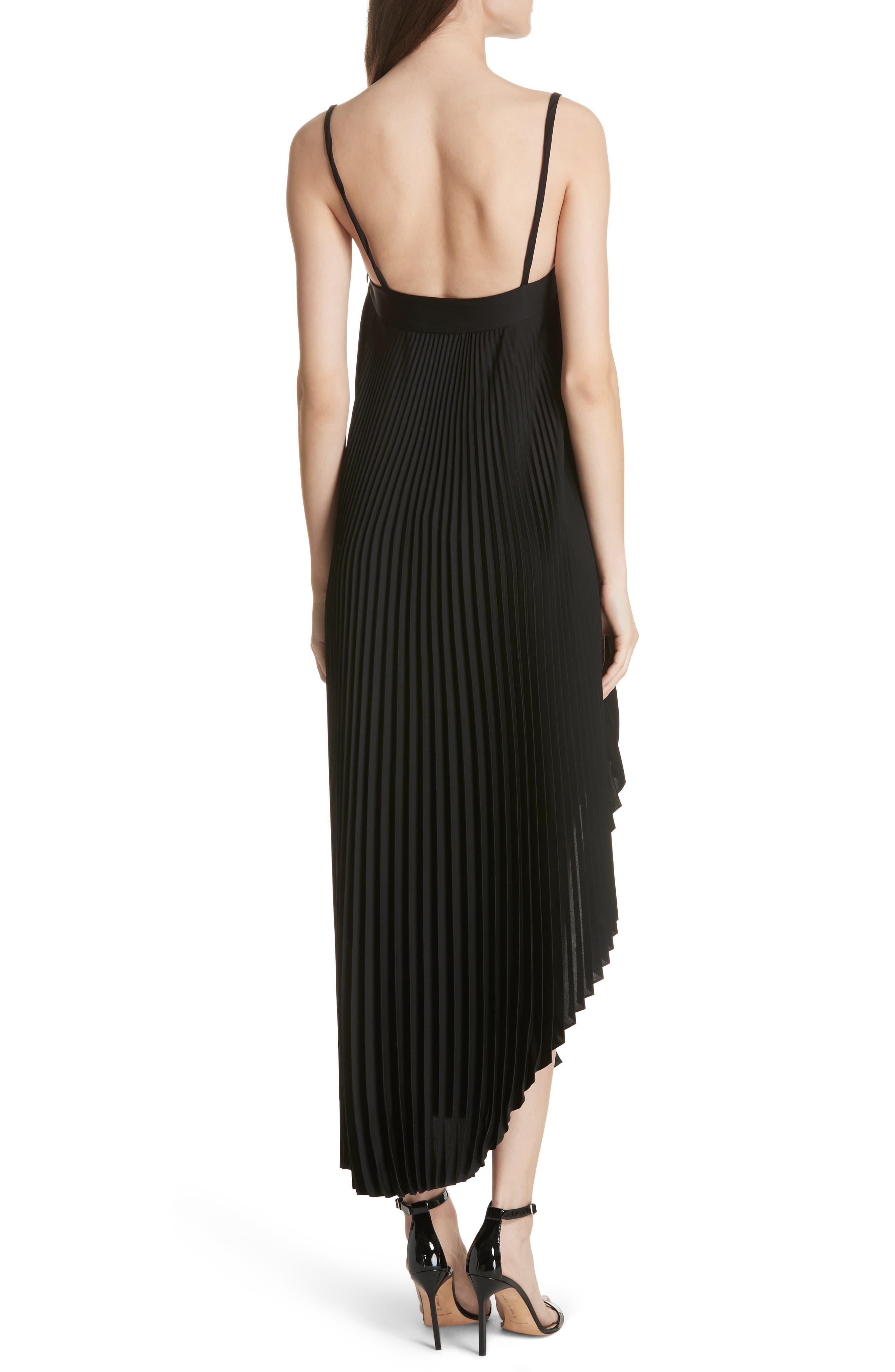 Irene Asymmetrical Pleated Silk Maxi Dress,                             Alternate thumbnail 2, color,                             Black