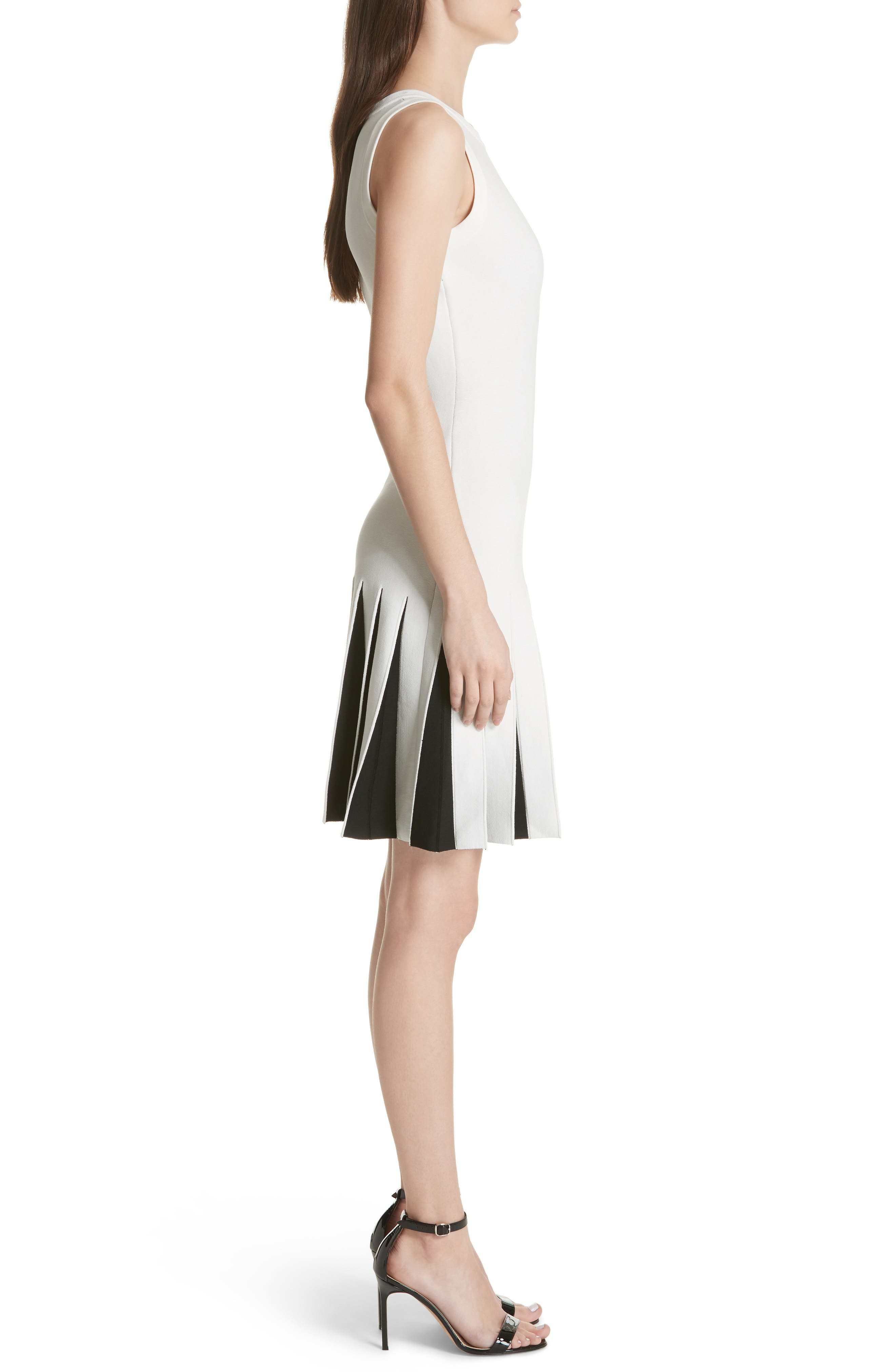 Pleated Contrast Drop Waist Dress,                             Alternate thumbnail 3, color,                             White/ Black