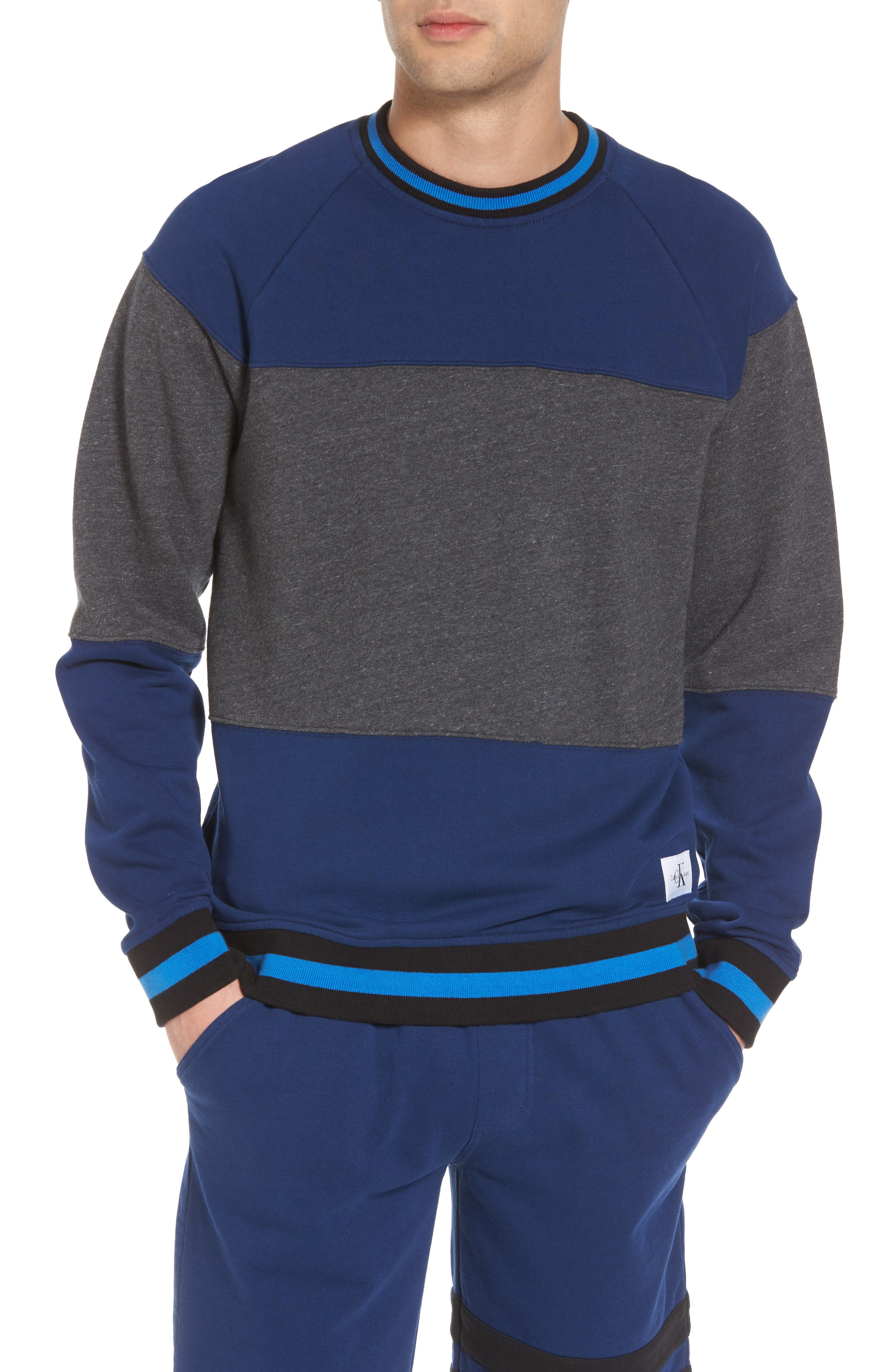 Tipped Colorblock Sweatshirt,                             Main thumbnail 1, color,                             Night Rider