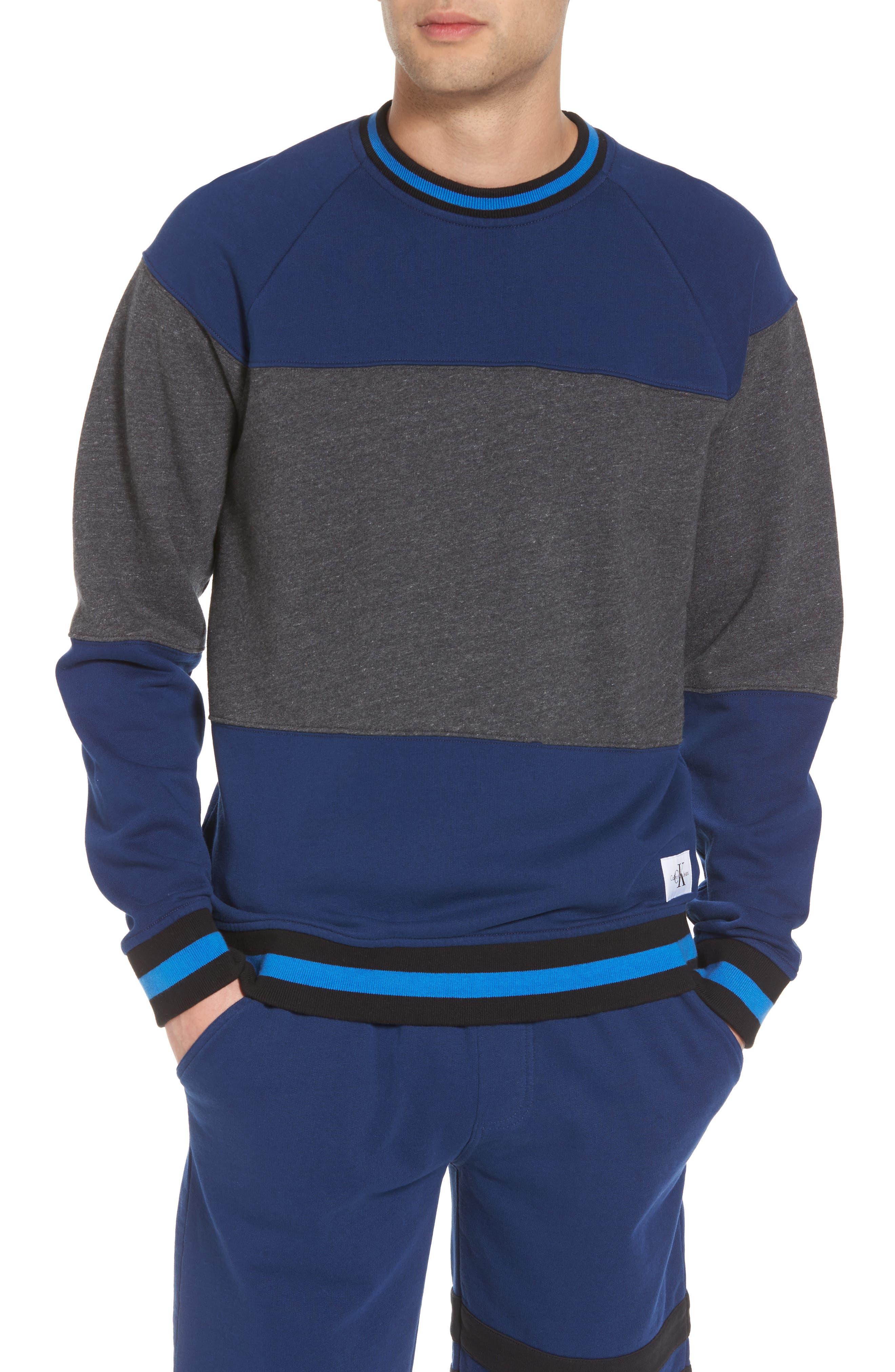 Tipped Colorblock Sweatshirt,                         Main,                         color, Night Rider