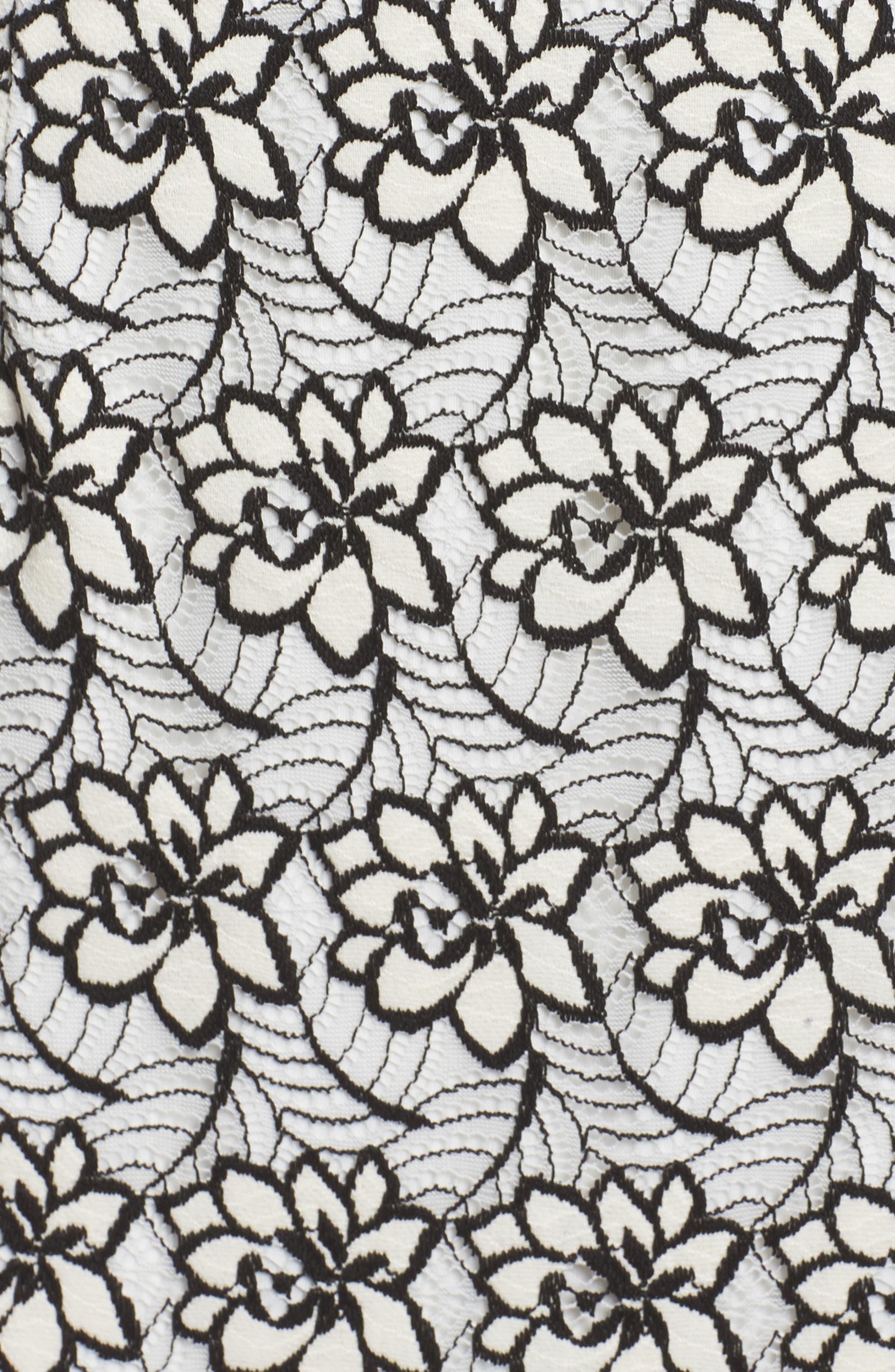 Lace Trim Sheath Dress,                             Alternate thumbnail 5, color,                             Ivory/ Black