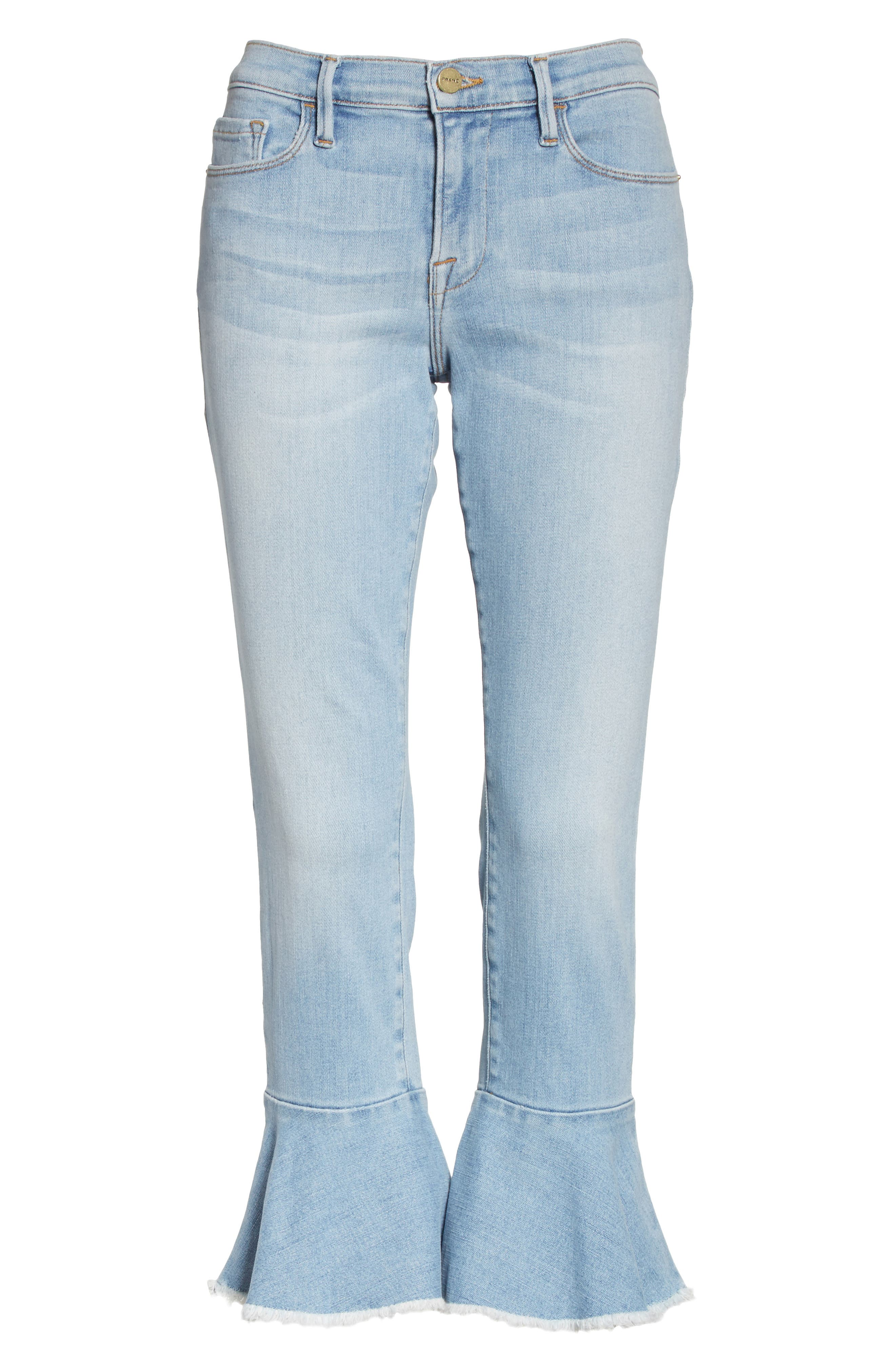 Le Skinny de Jeanne Flounce Skinny Jeans,                             Alternate thumbnail 6, color,                             Limer Stone