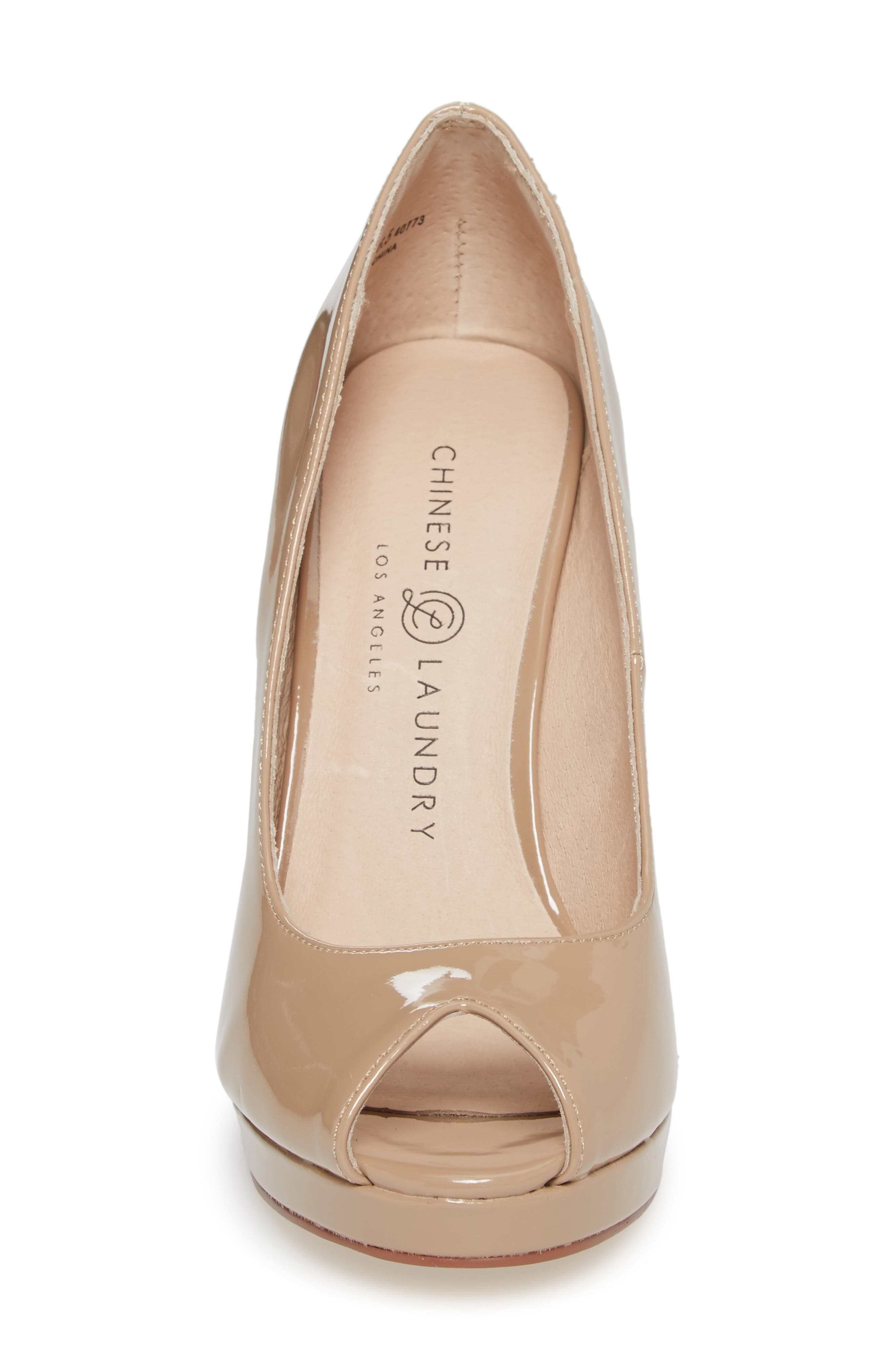 Fia Peep Toe Pump,                             Alternate thumbnail 4, color,                             Nude Patent