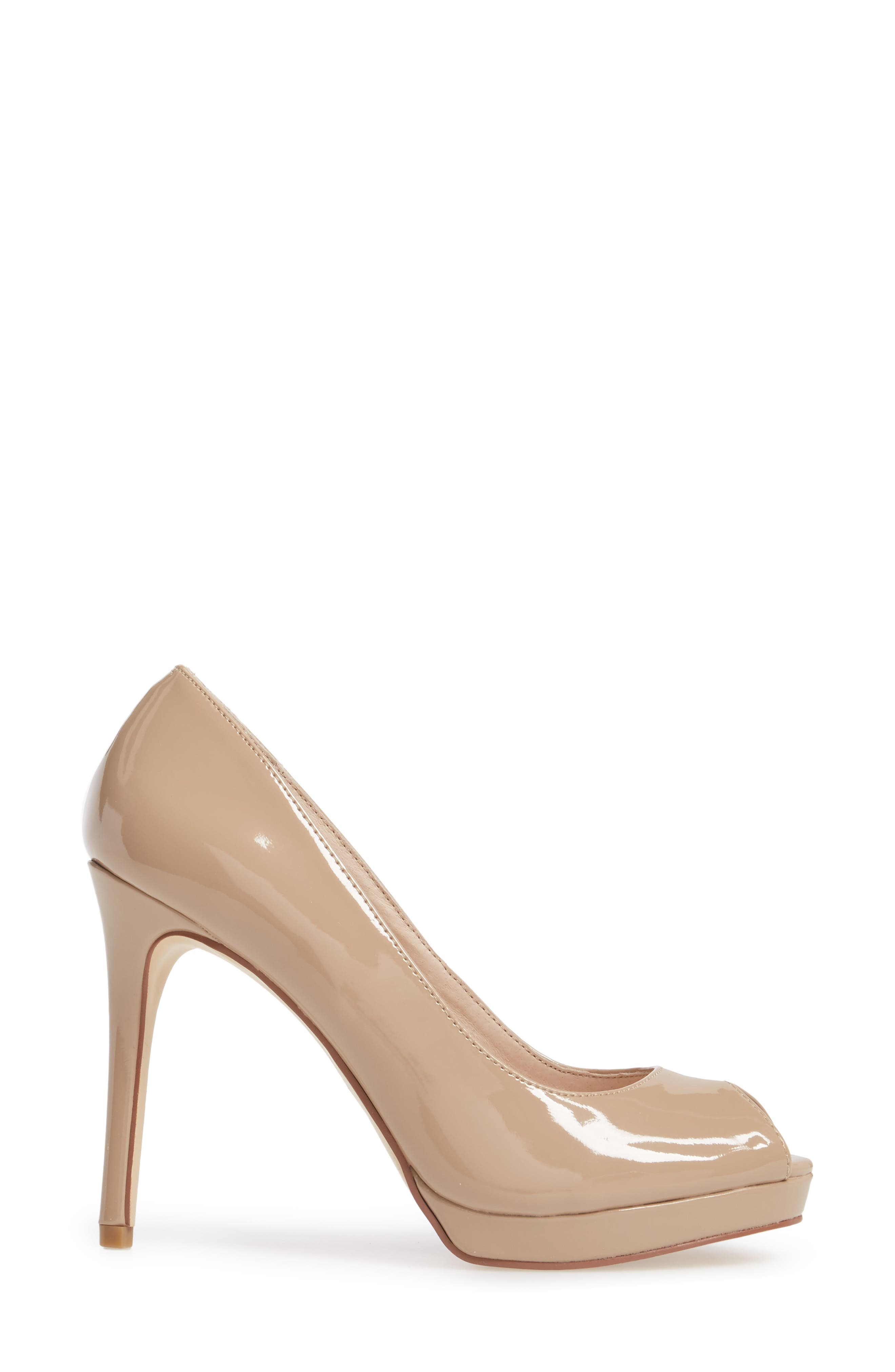 Fia Peep Toe Pump,                             Alternate thumbnail 3, color,                             Nude Patent