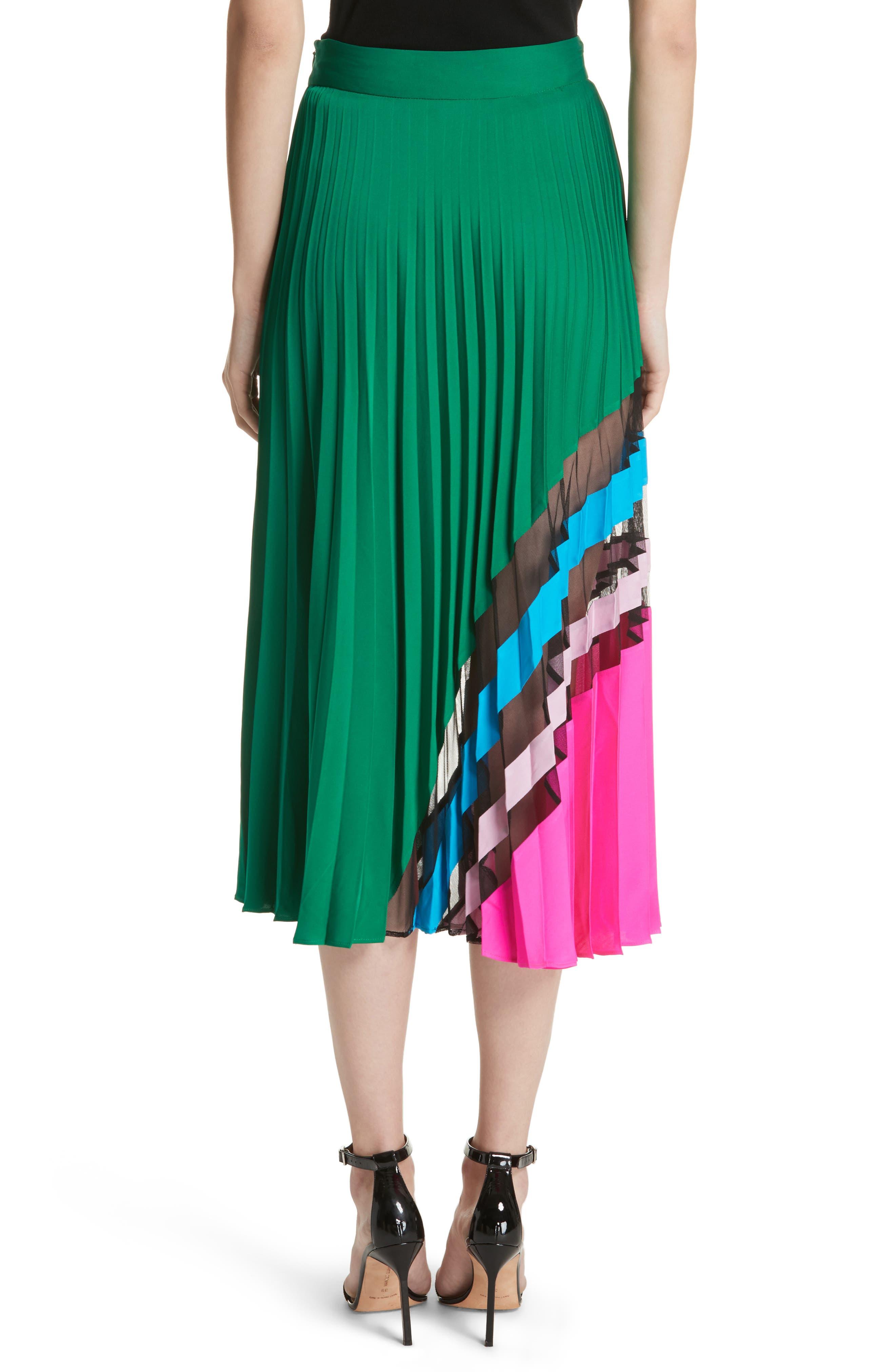 Pleated Maxi Skirt,                             Alternate thumbnail 2, color,                             Emerald Multi