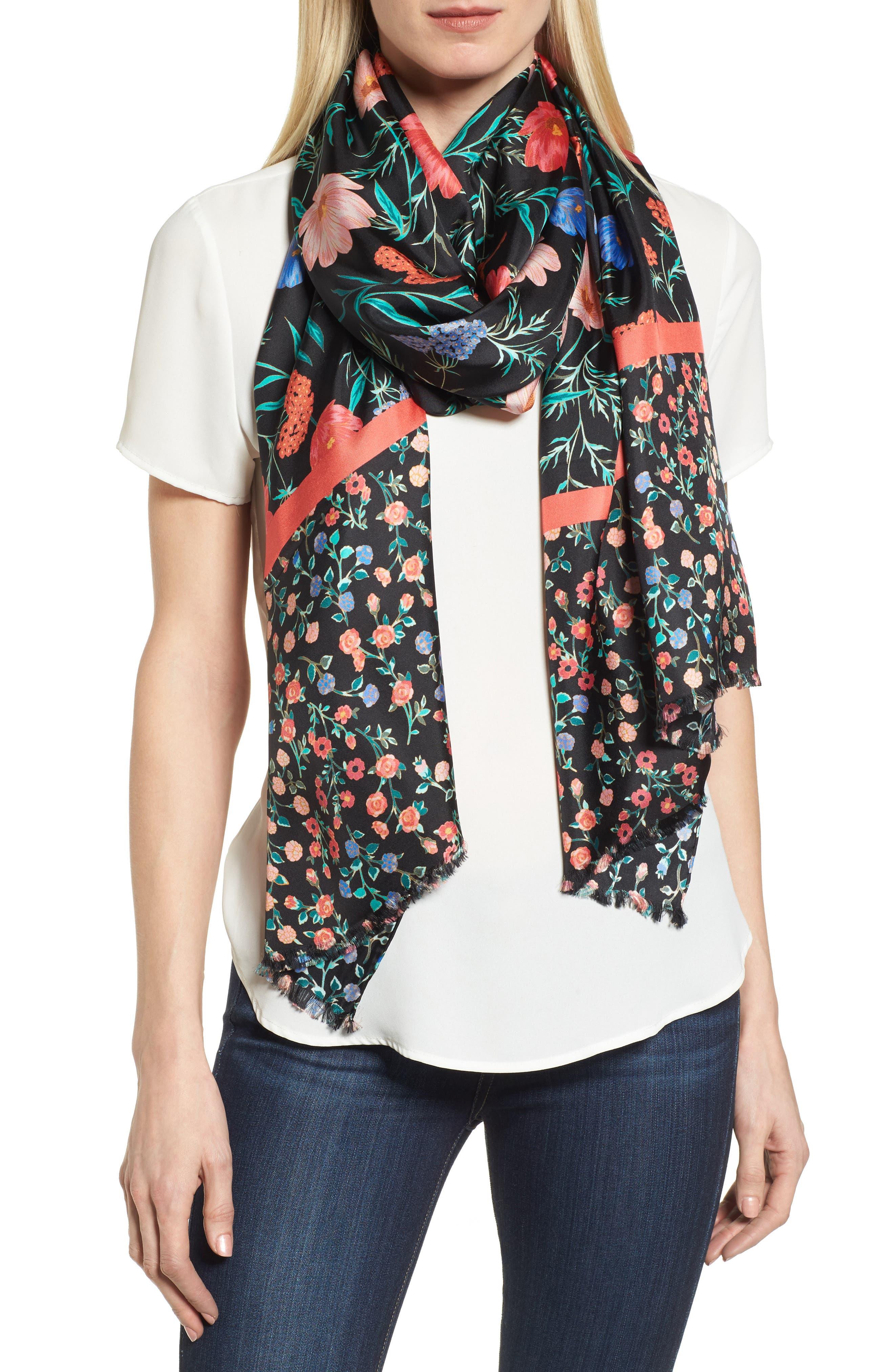 blossom silk scarf,                         Main,                         color, Black