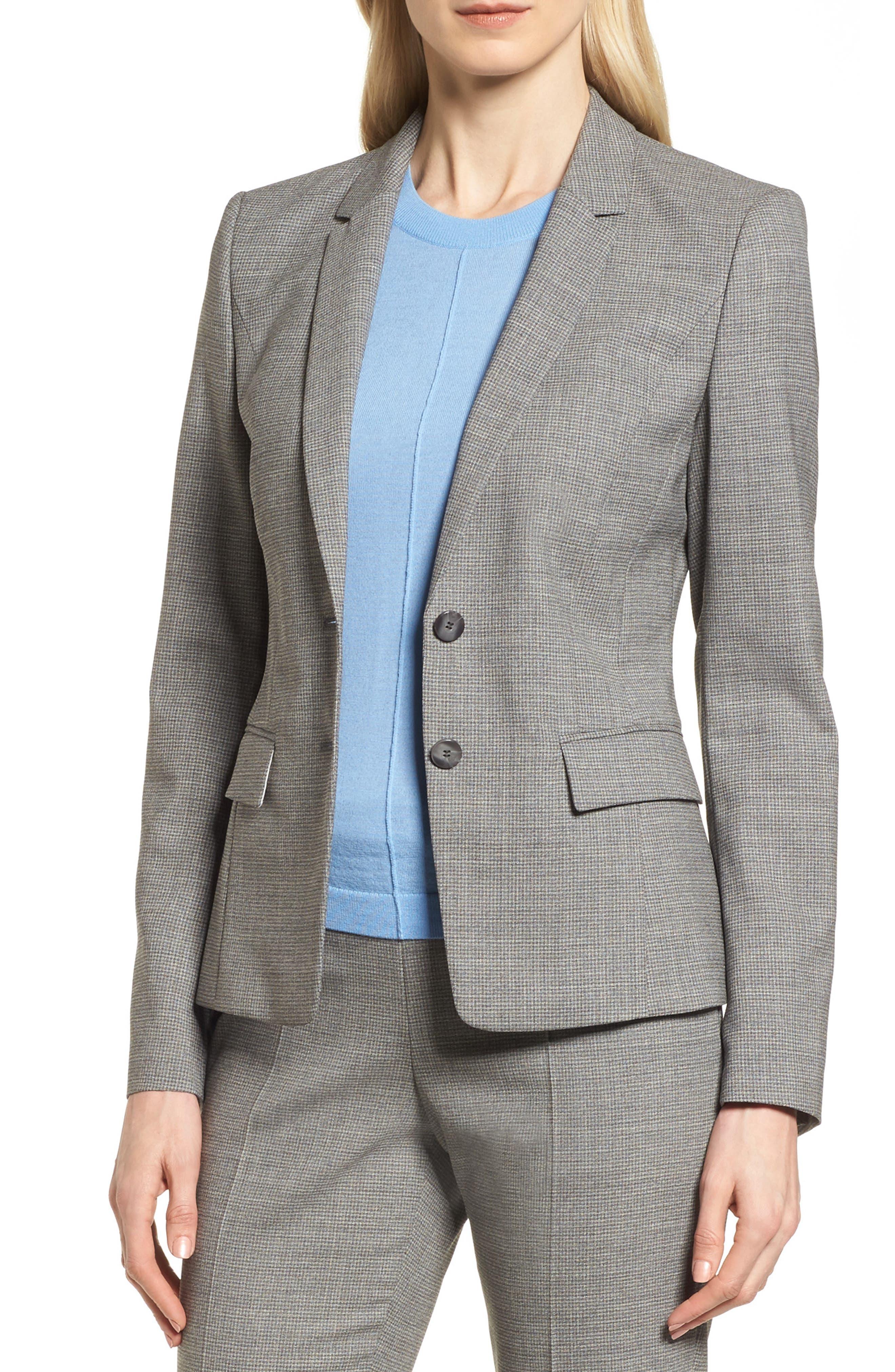 BOSS Jewisa Check Wool Jacket (Regular & Petite)
