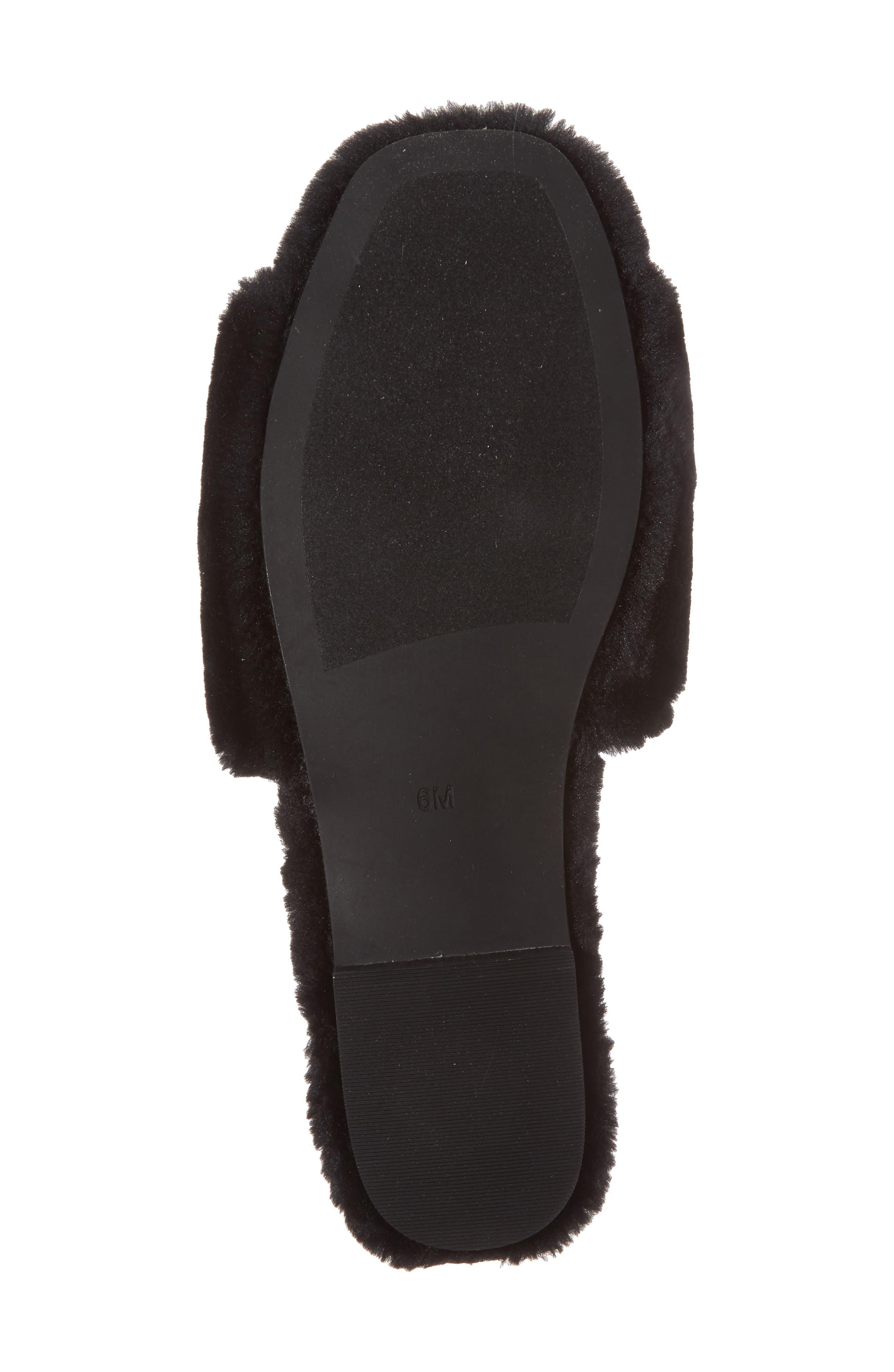 Plush Animal Slipper,                             Alternate thumbnail 6, color,                             Black Faux Fur
