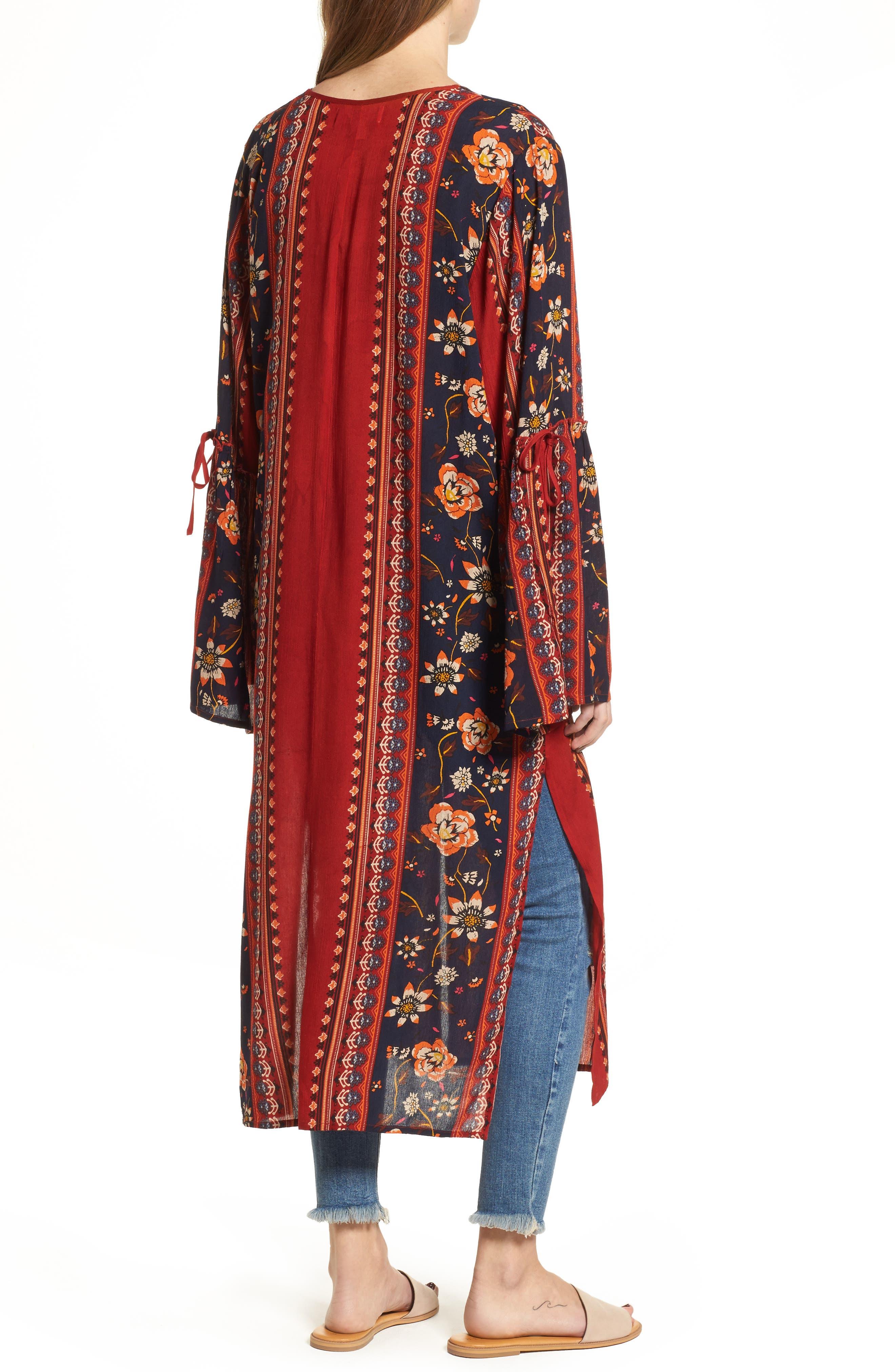 Bell Sleeve Kimono,                             Alternate thumbnail 2, color,                             Rust/ Navy
