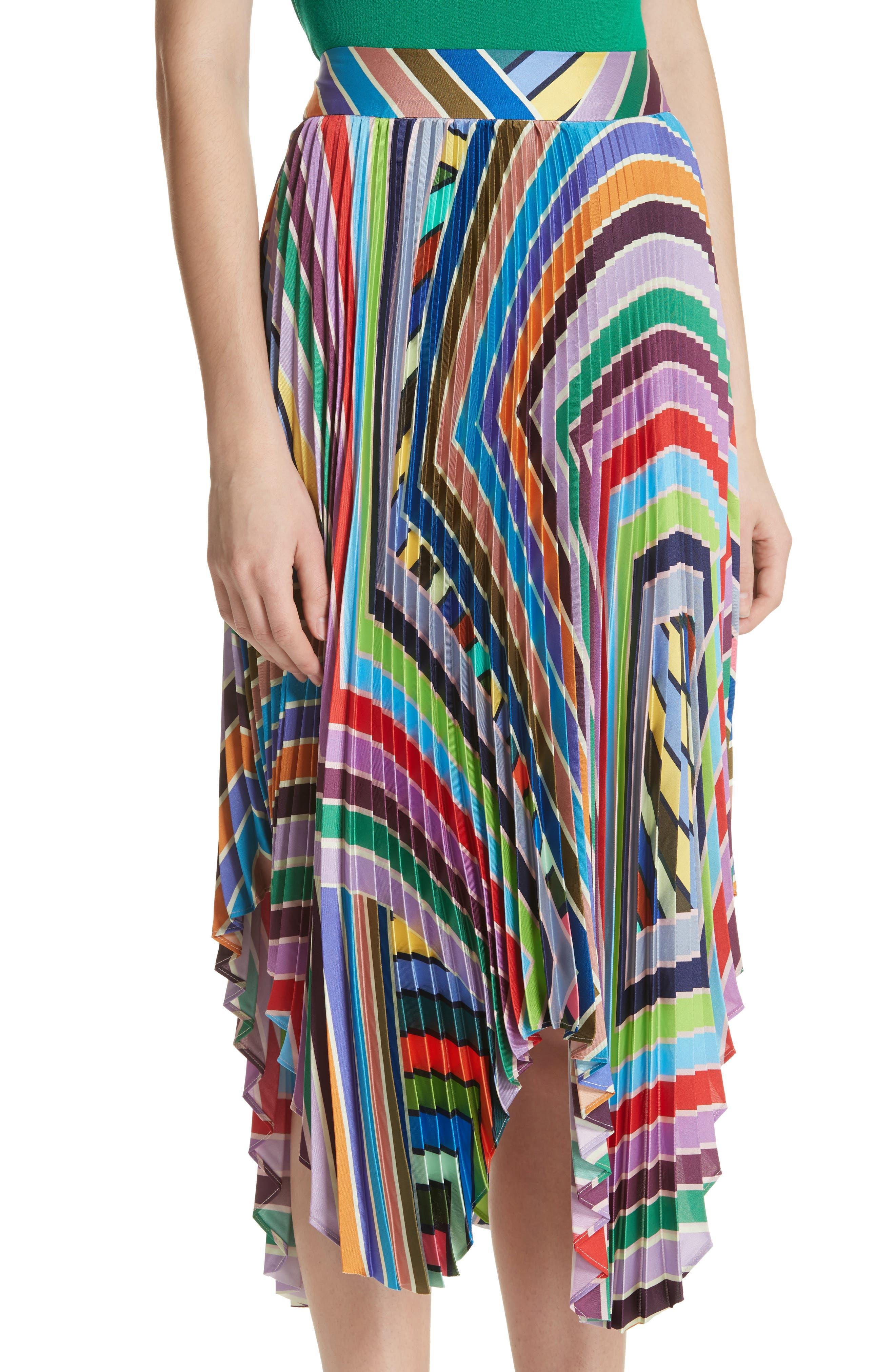 Stripe Pleated Handkerchief Skirt,                             Alternate thumbnail 4, color,                             Multi