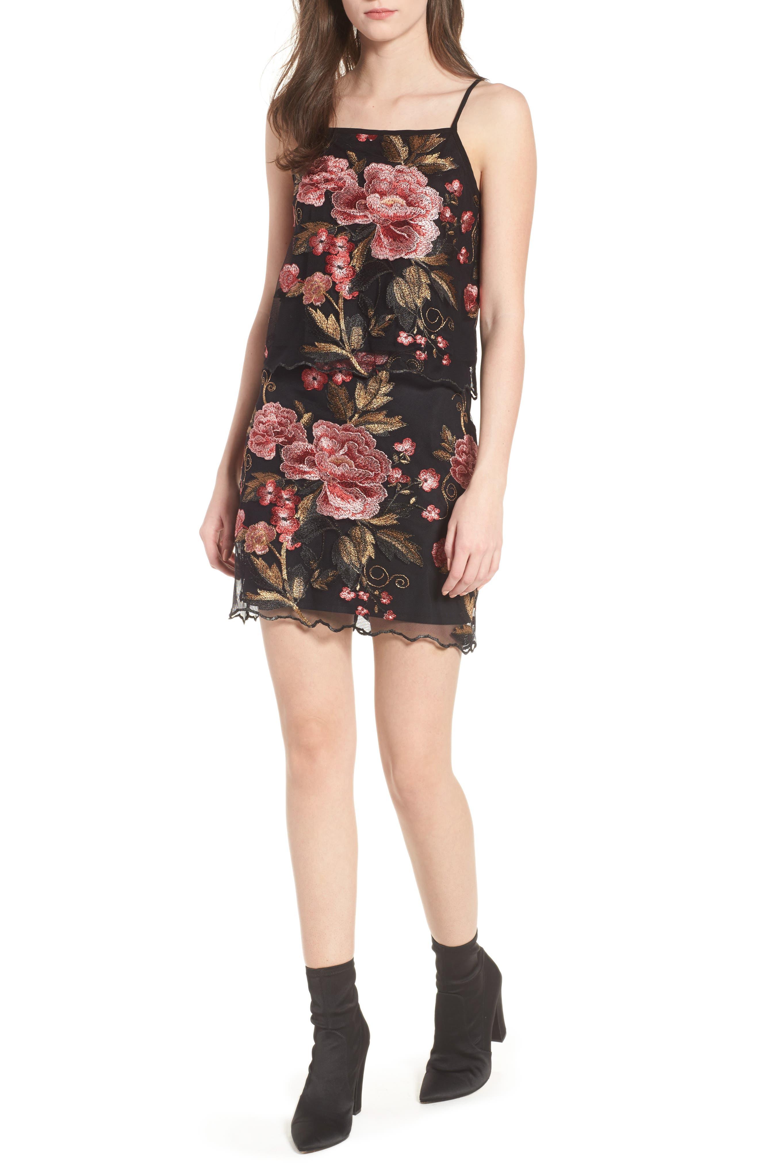 Sunset Embroidered Skirt,                             Alternate thumbnail 2, color,                             Black/ Rose