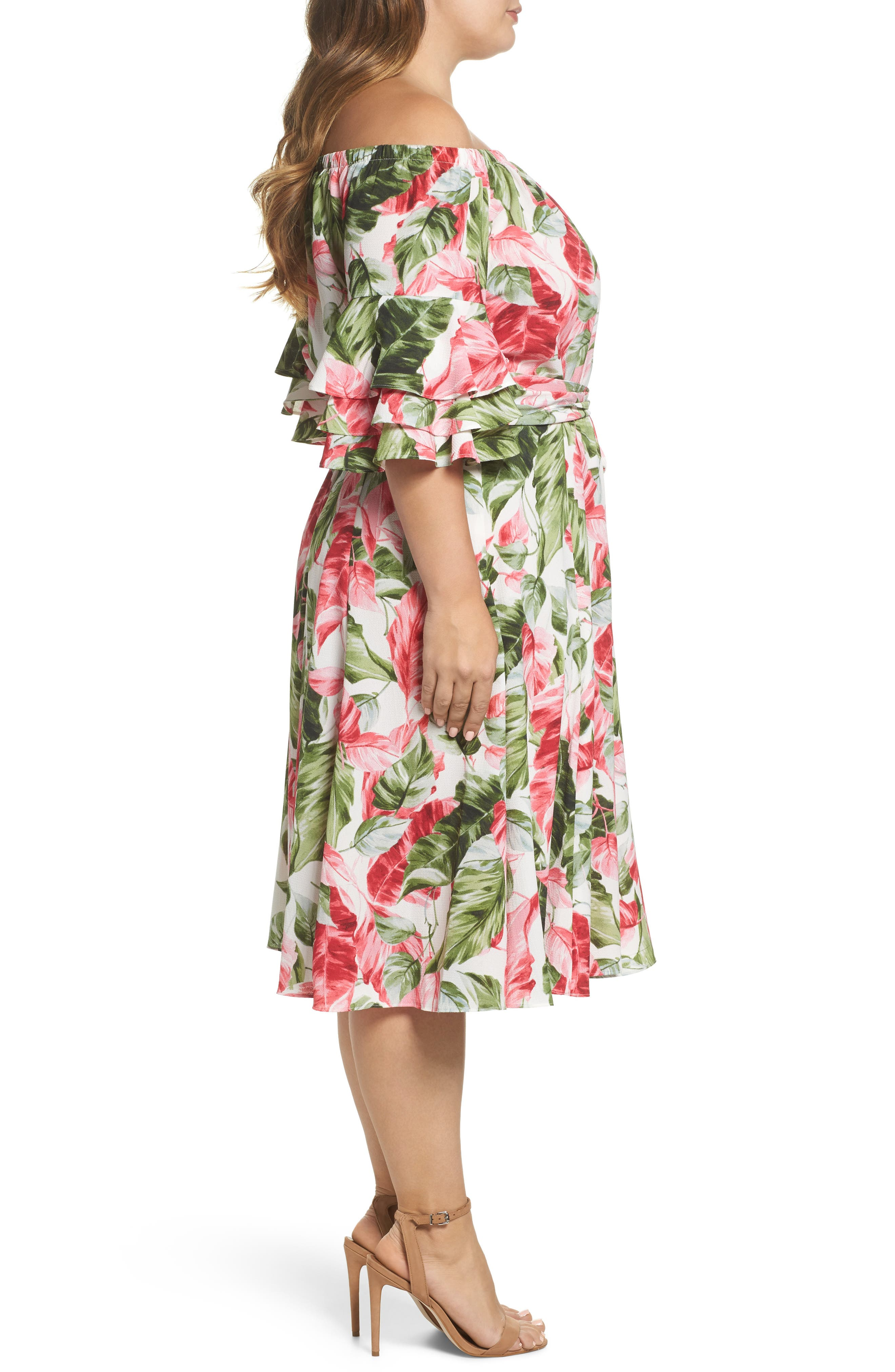 Off the Shoulder Floral Midi Dress,                             Alternate thumbnail 3, color,                             Green/ Pink