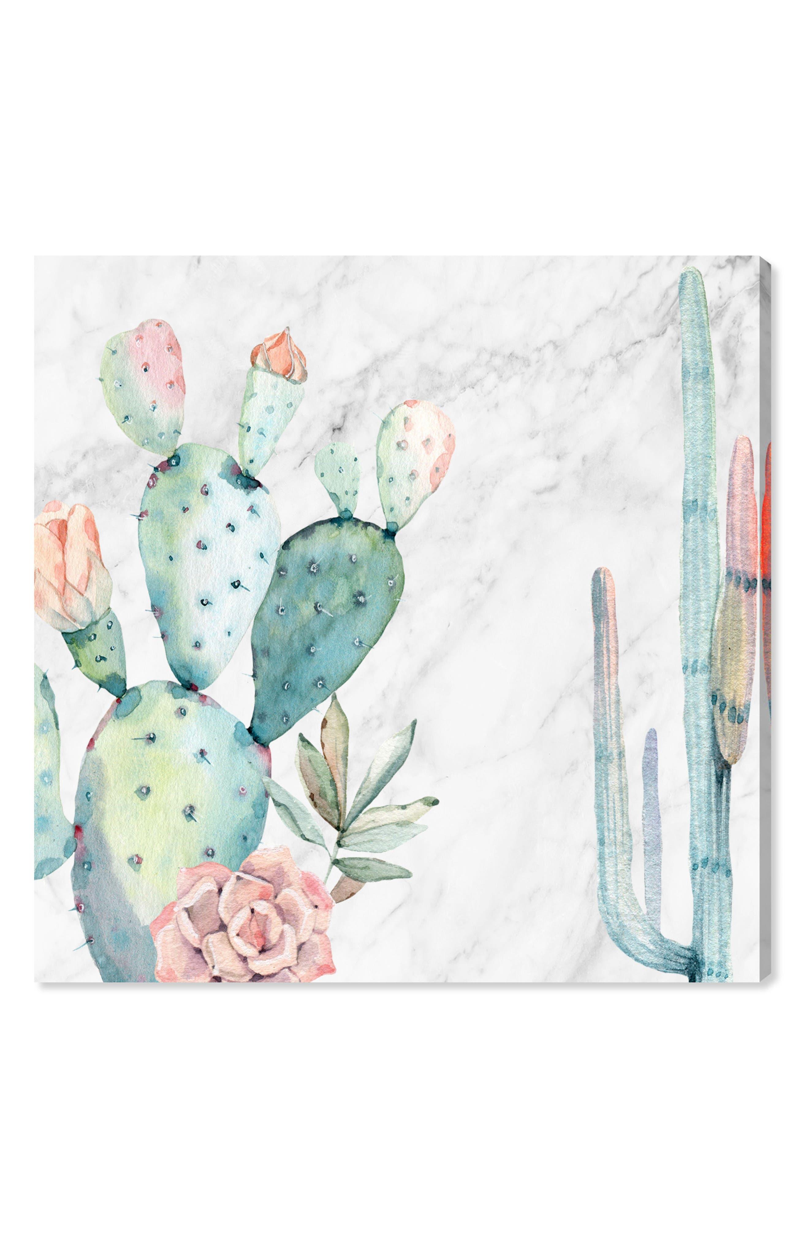 Marble & Succulents Canvas Wall Art,                             Main thumbnail 1, color,                             White