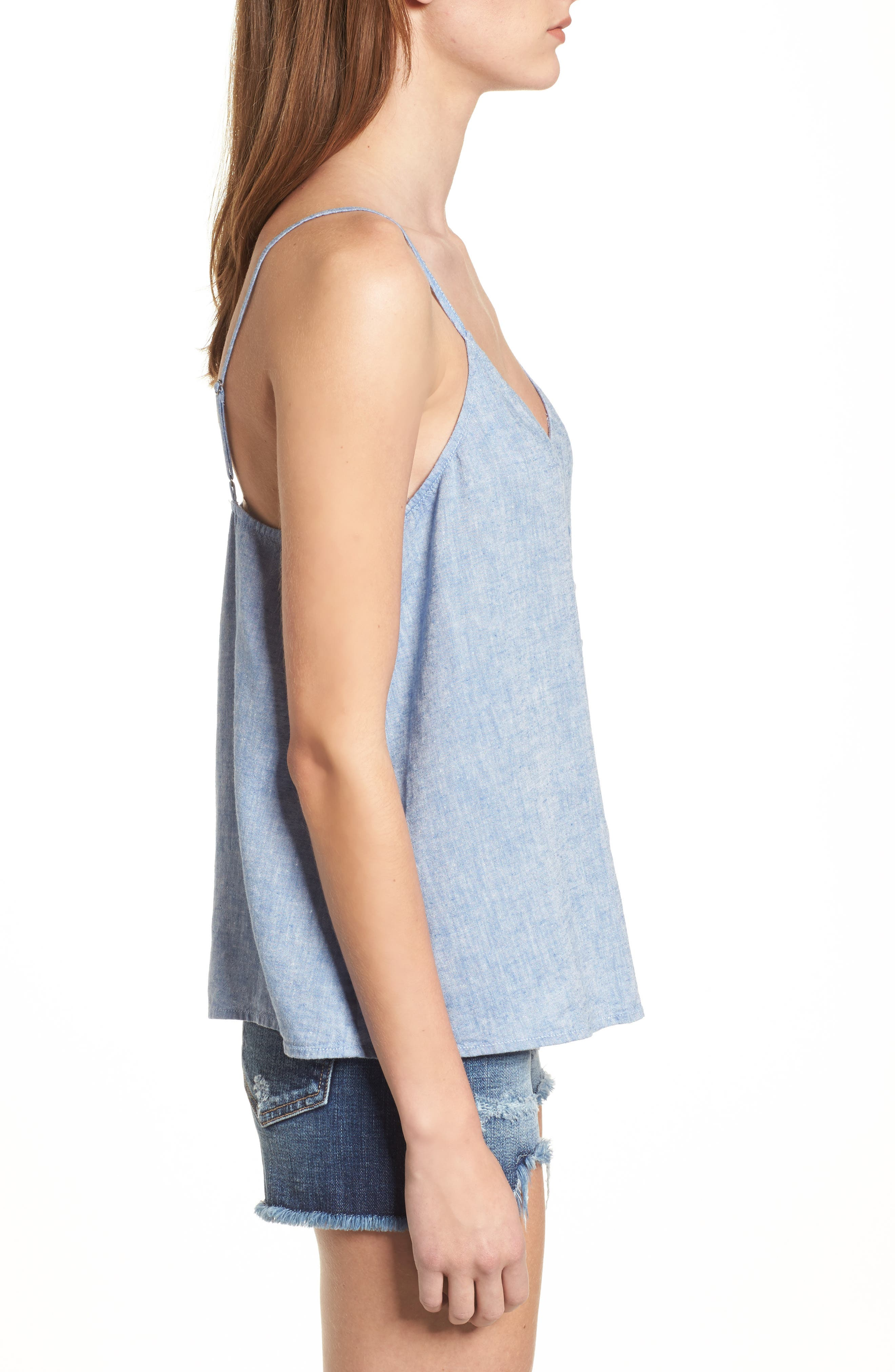 Button Front Camisole,                             Alternate thumbnail 3, color,                             Blue Yonder Crossdye