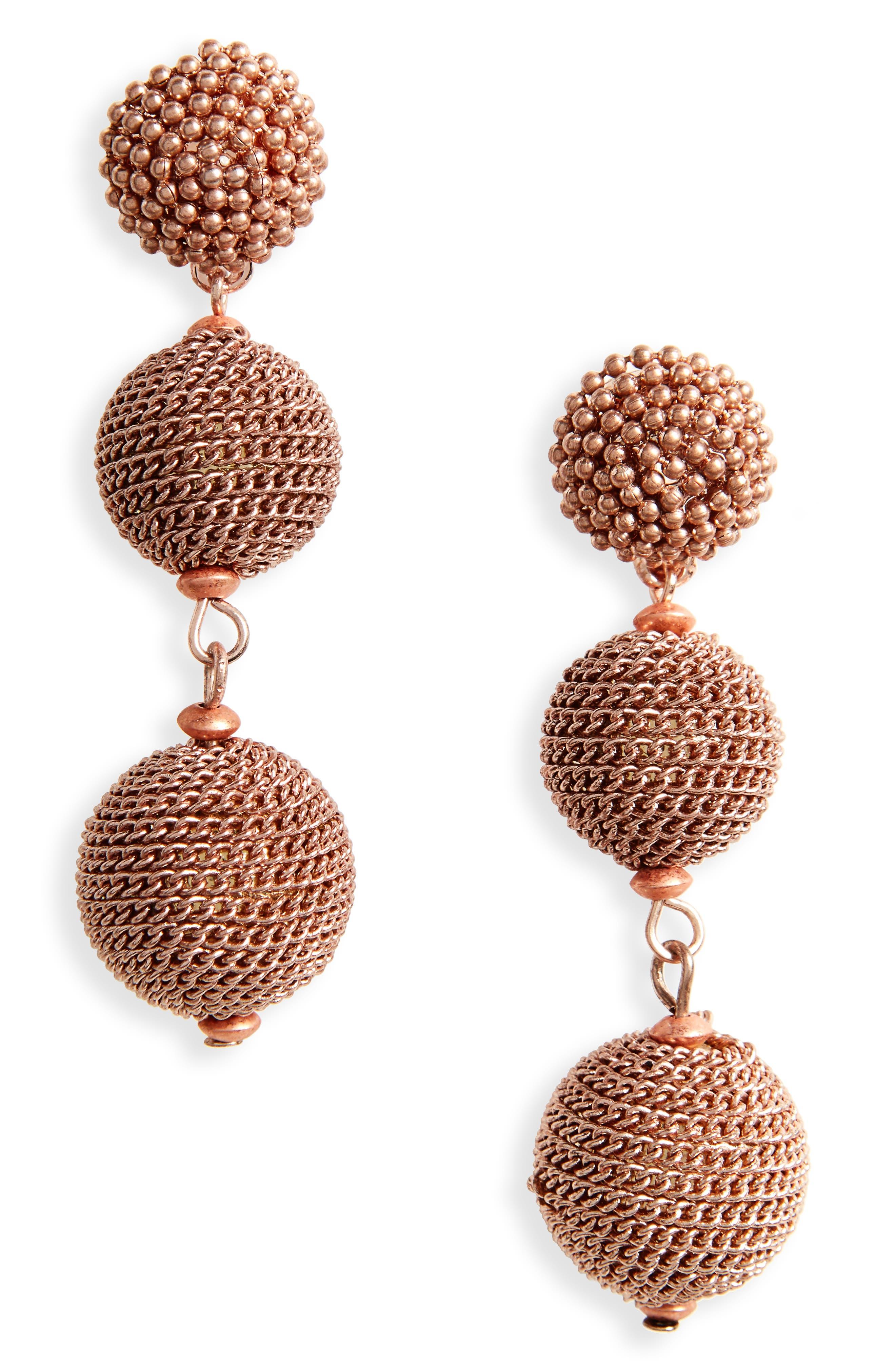 Metal Ball Drop Earrings,                             Main thumbnail 1, color,                             Worn Rose Gold