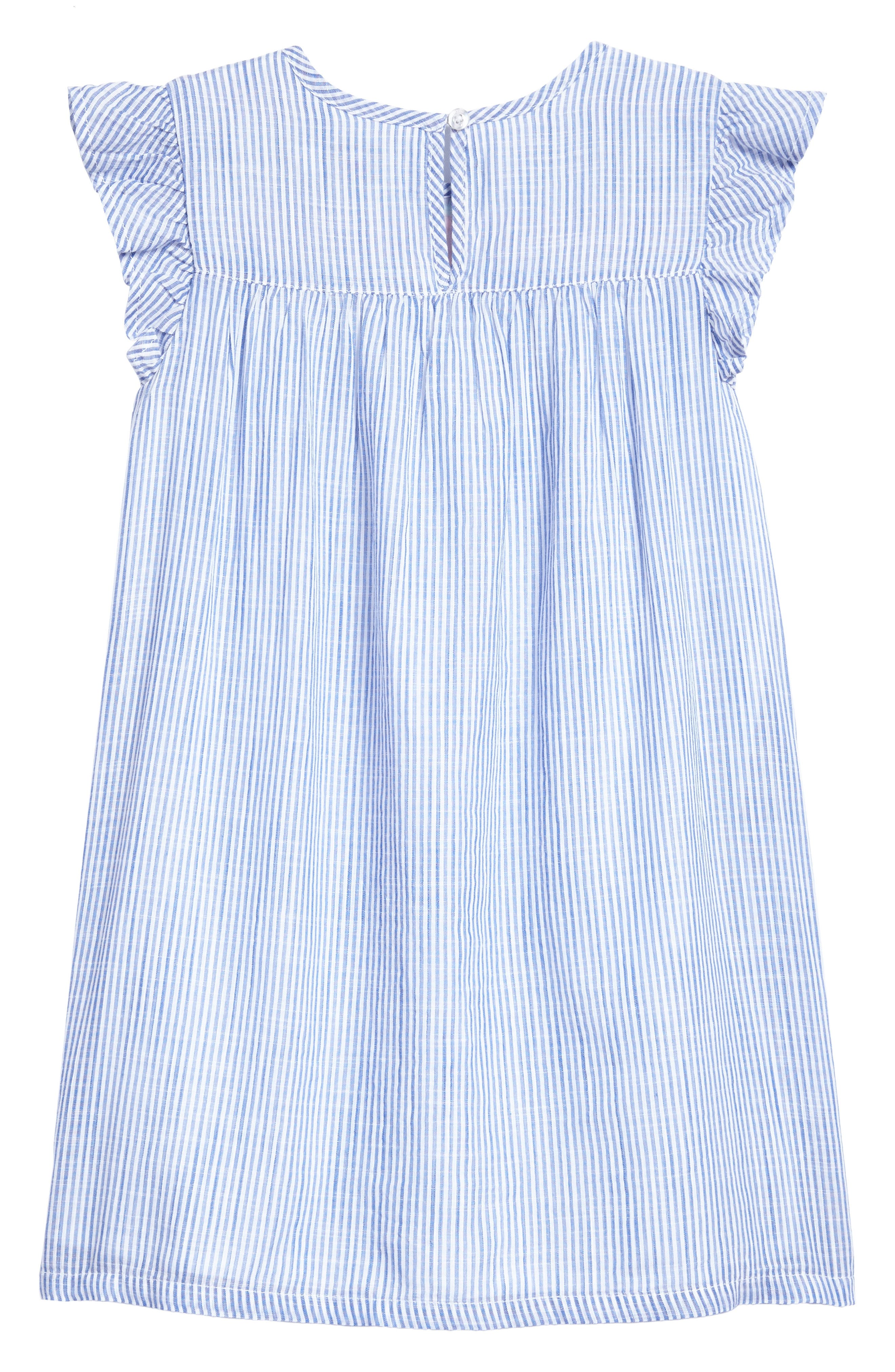 Embroidered Flutter Dress,                             Alternate thumbnail 2, color,                             White Cap