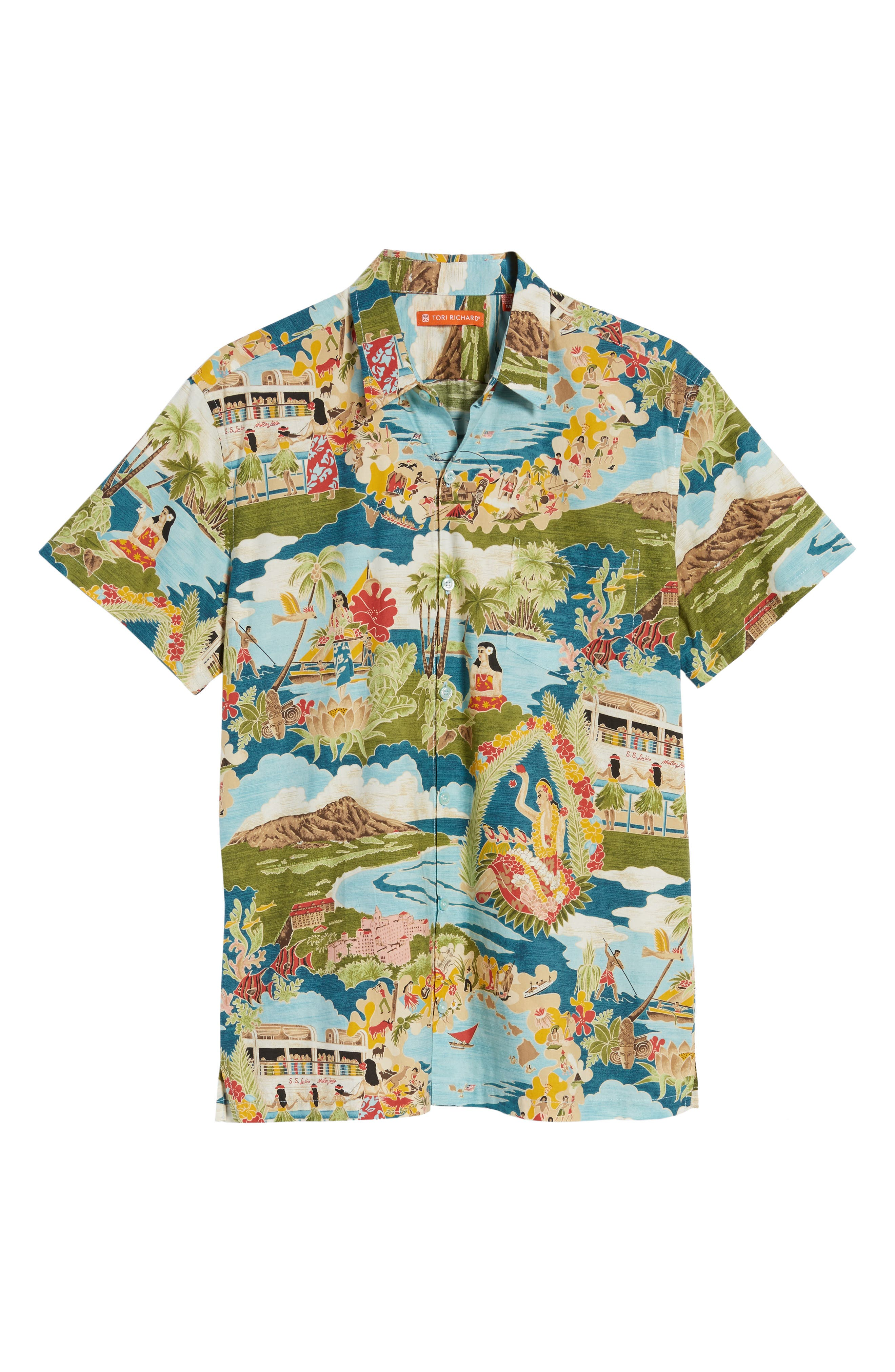 Boat Day Aloha Sport Shirt,                             Alternate thumbnail 6, color,                             Lagoon