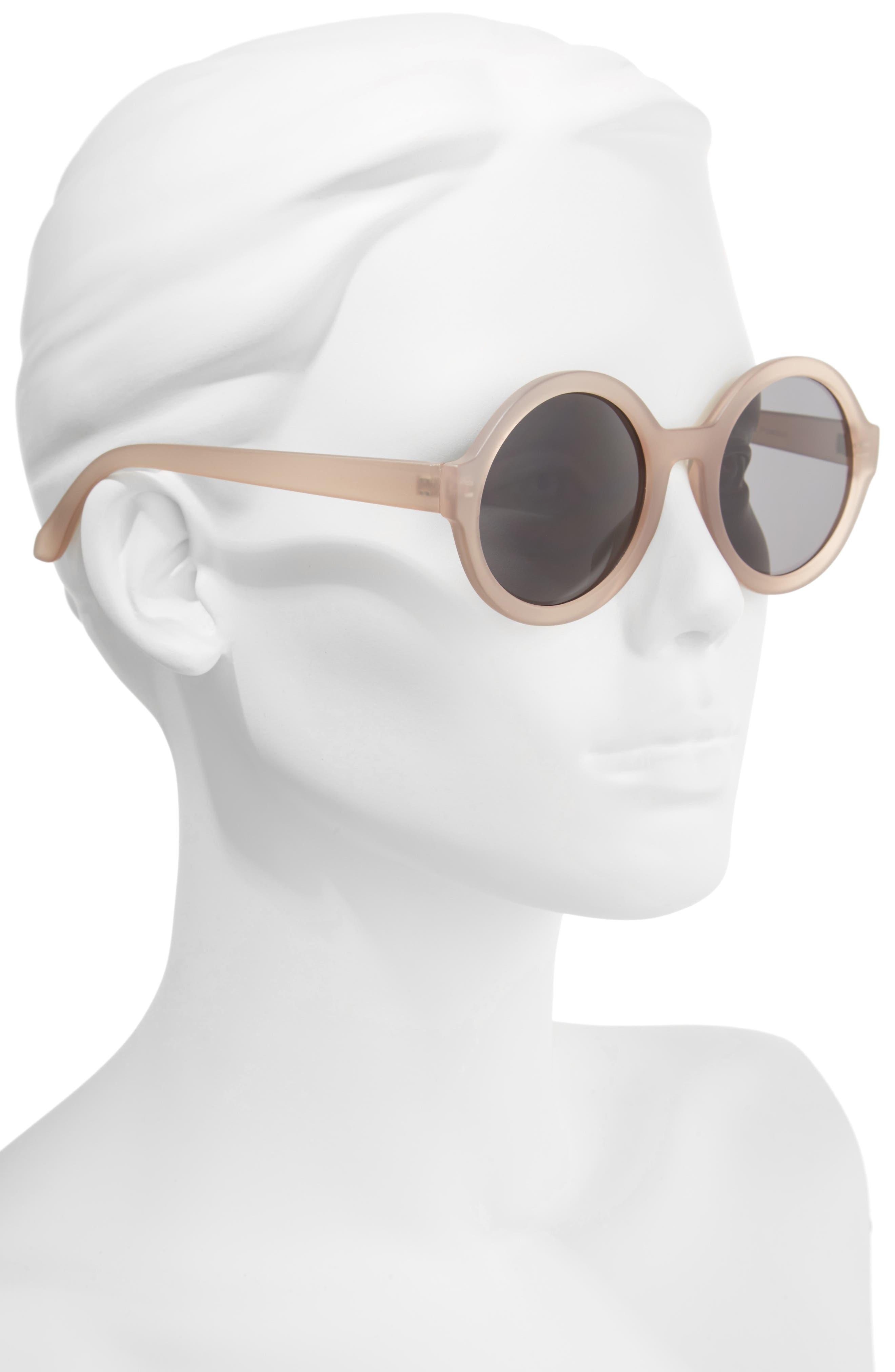 50mm Round Sunglasses,                             Alternate thumbnail 2, color,                             Mauve