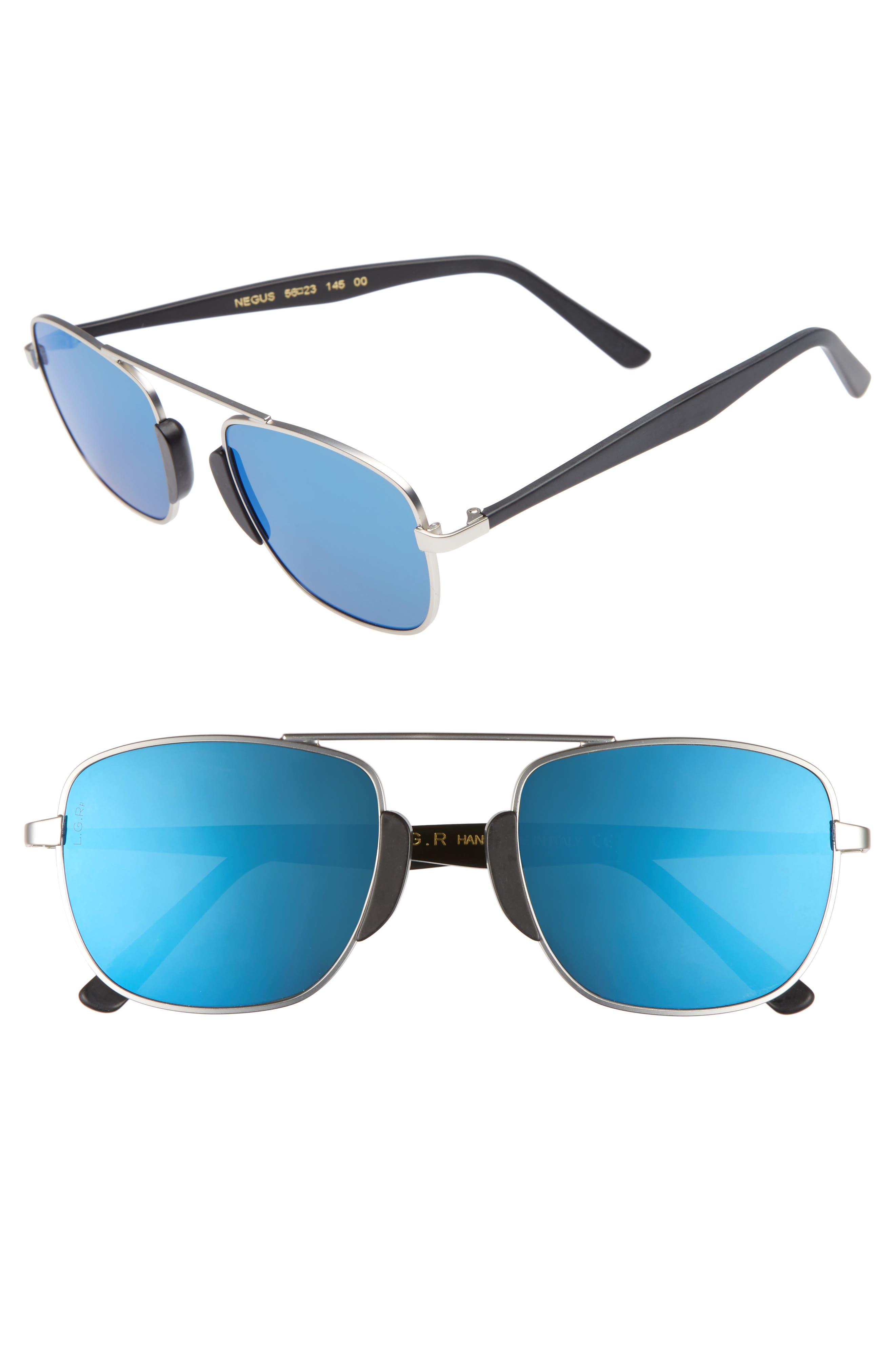 Negus 53mm Polarized Sunglasses,                             Main thumbnail 1, color,                             Silver Matte/ Blue Mirror