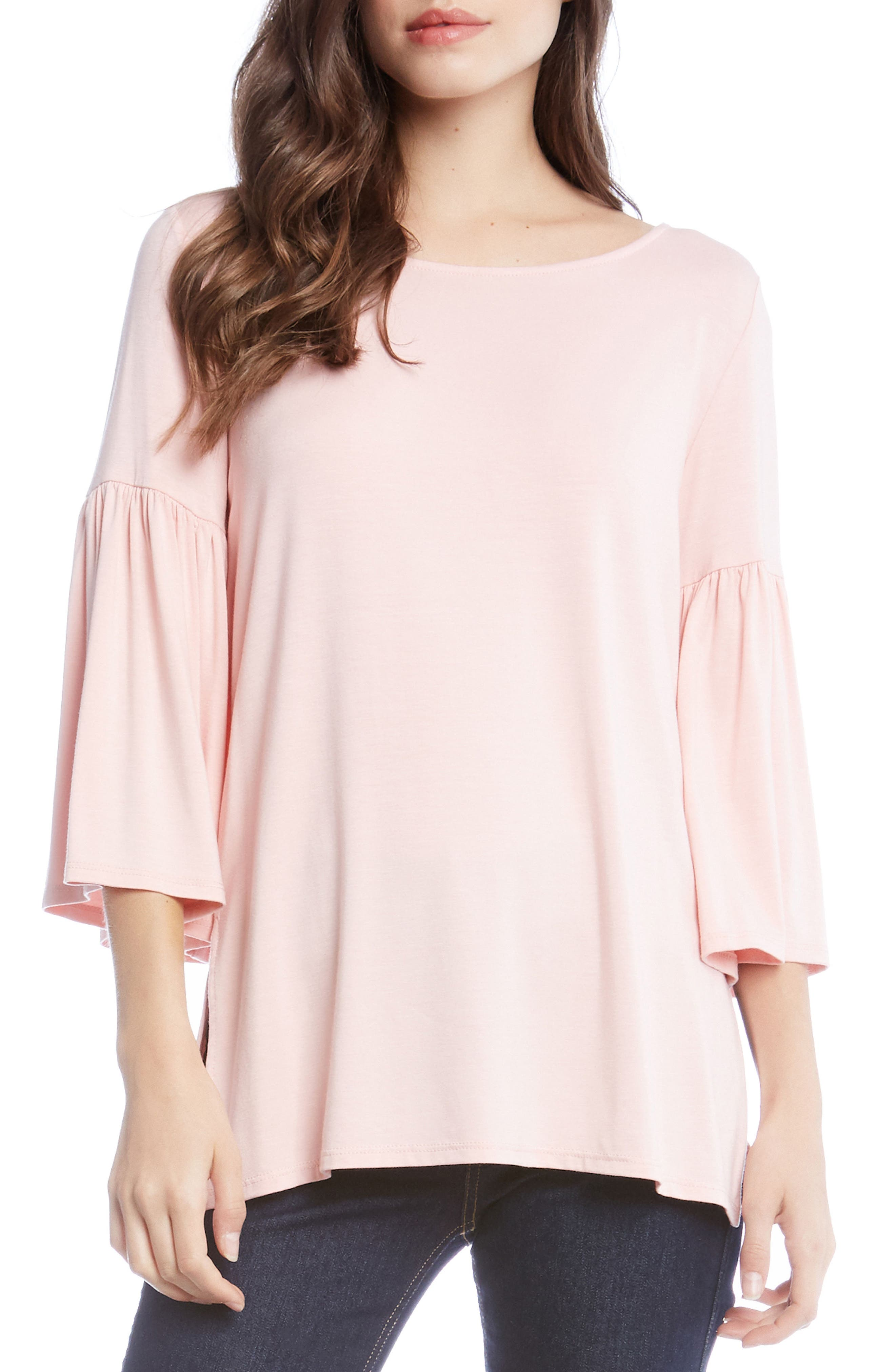Bell Sleeve Side Slit Top,                         Main,                         color, Rose