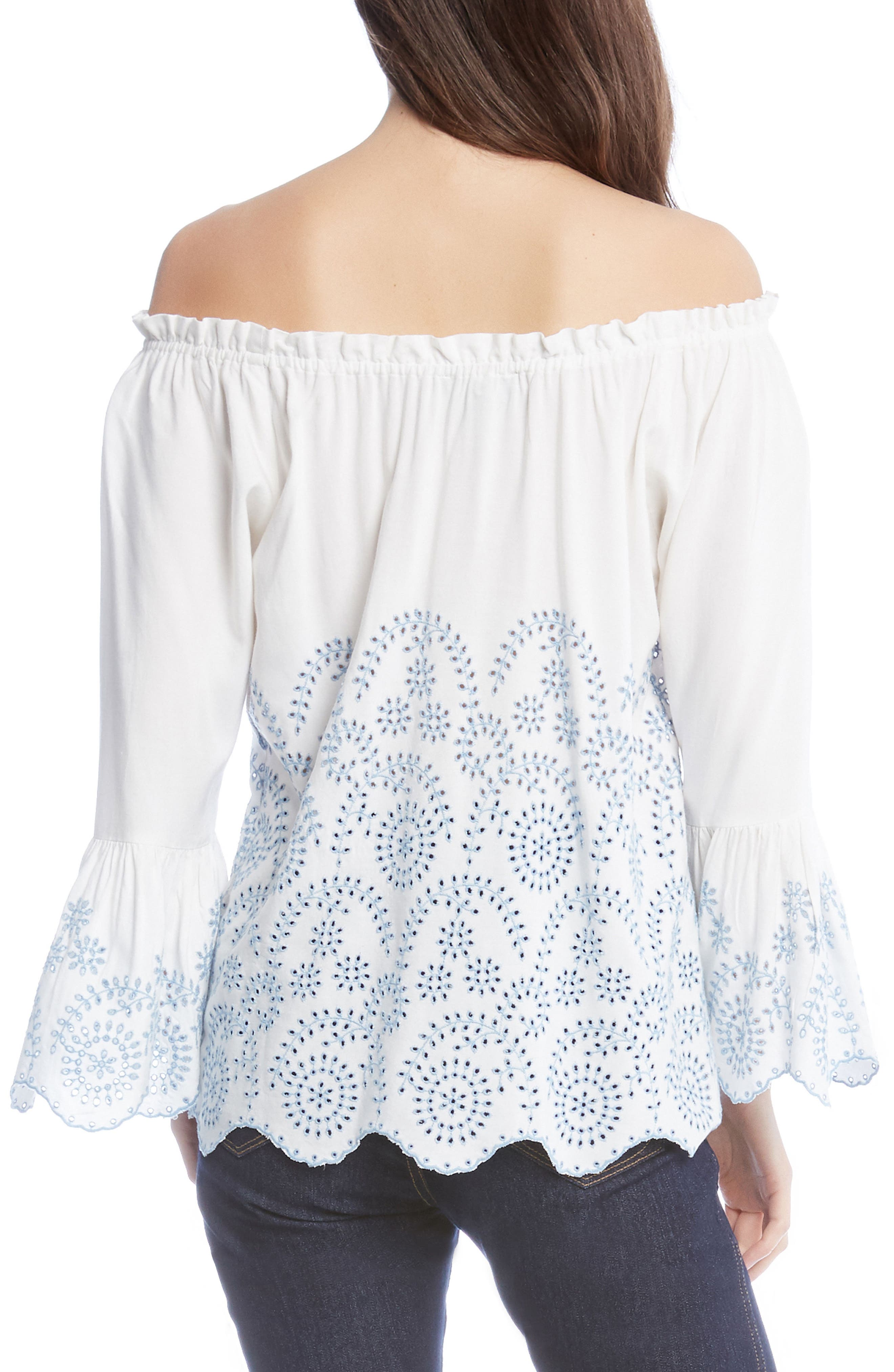 Convertible Off the Shoulder Eyelet Top,                             Alternate thumbnail 3, color,                             Off White