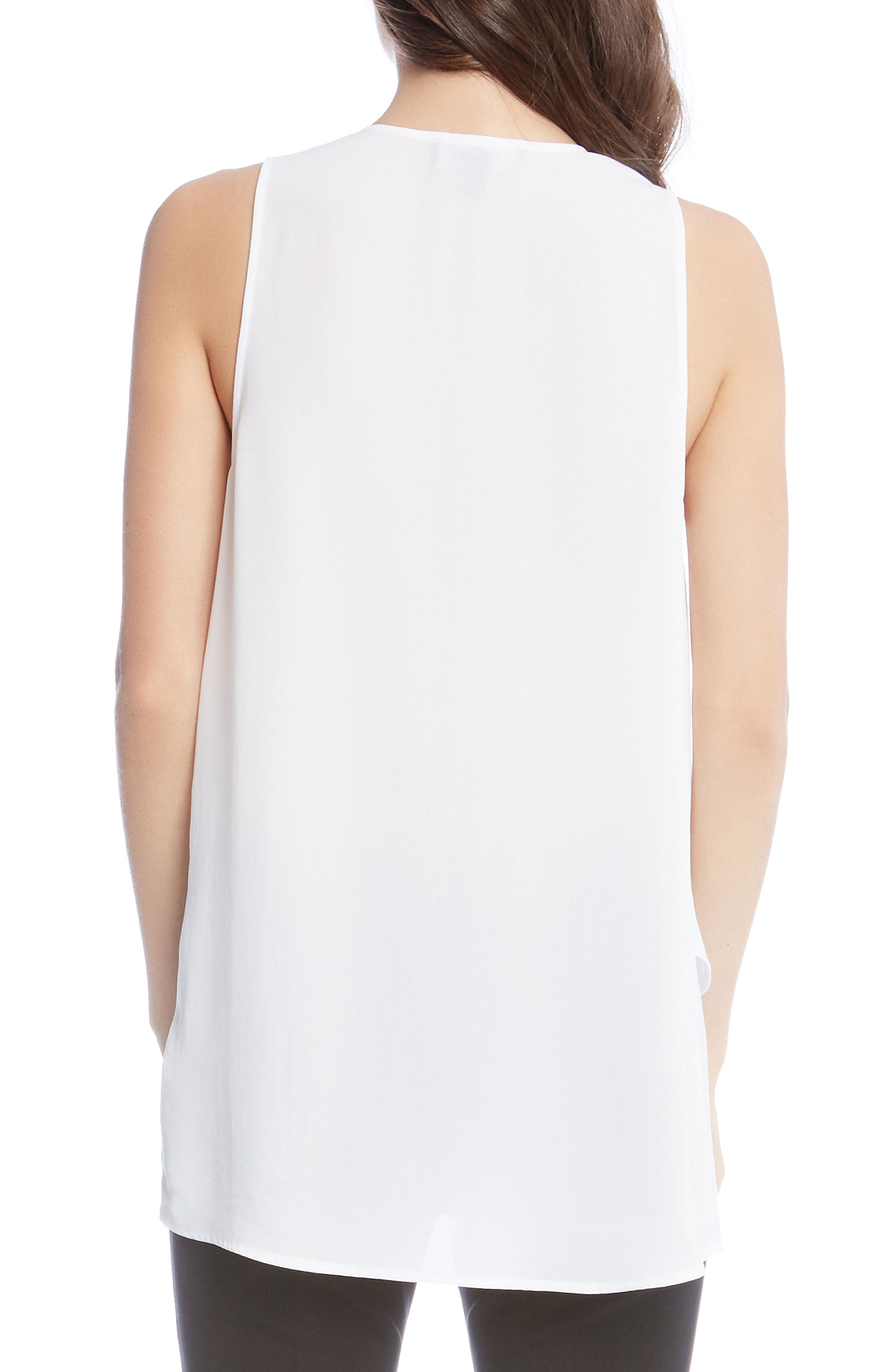 Asymmetrical Lace-Up Crepe Tank,                             Alternate thumbnail 2, color,                             Off White