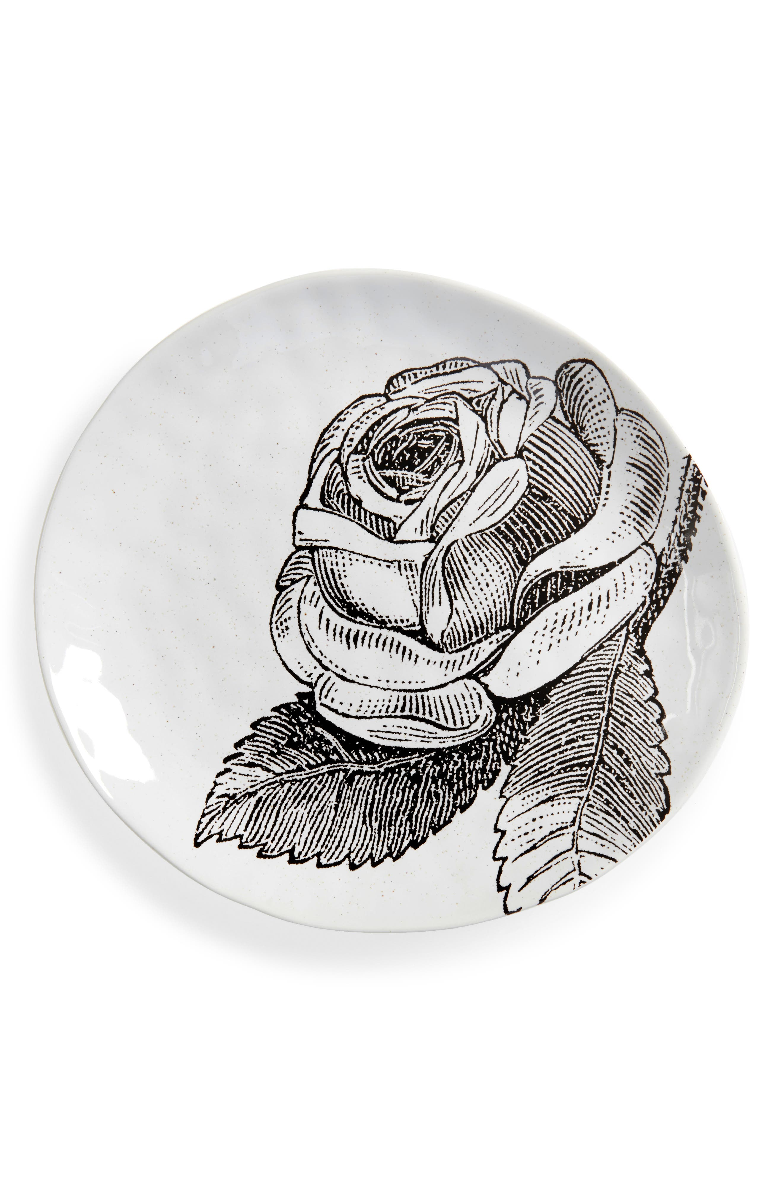 Adorn Stoneware Plate,                         Main,                         color, White
