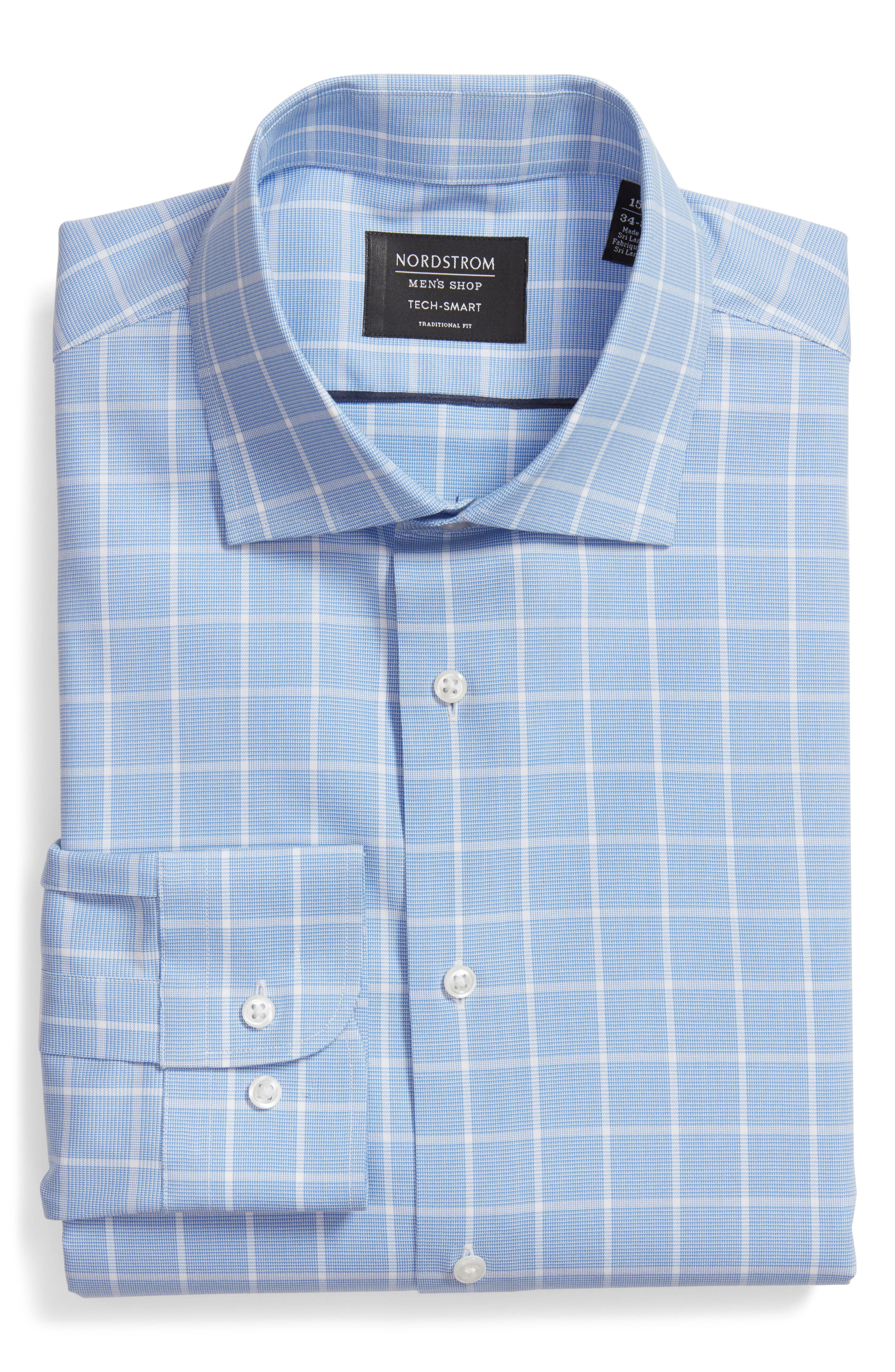 Tech-Smart Traditional Fit Stretch Windowpane Dress Shirt,                         Main,                         color, Blue Azurite