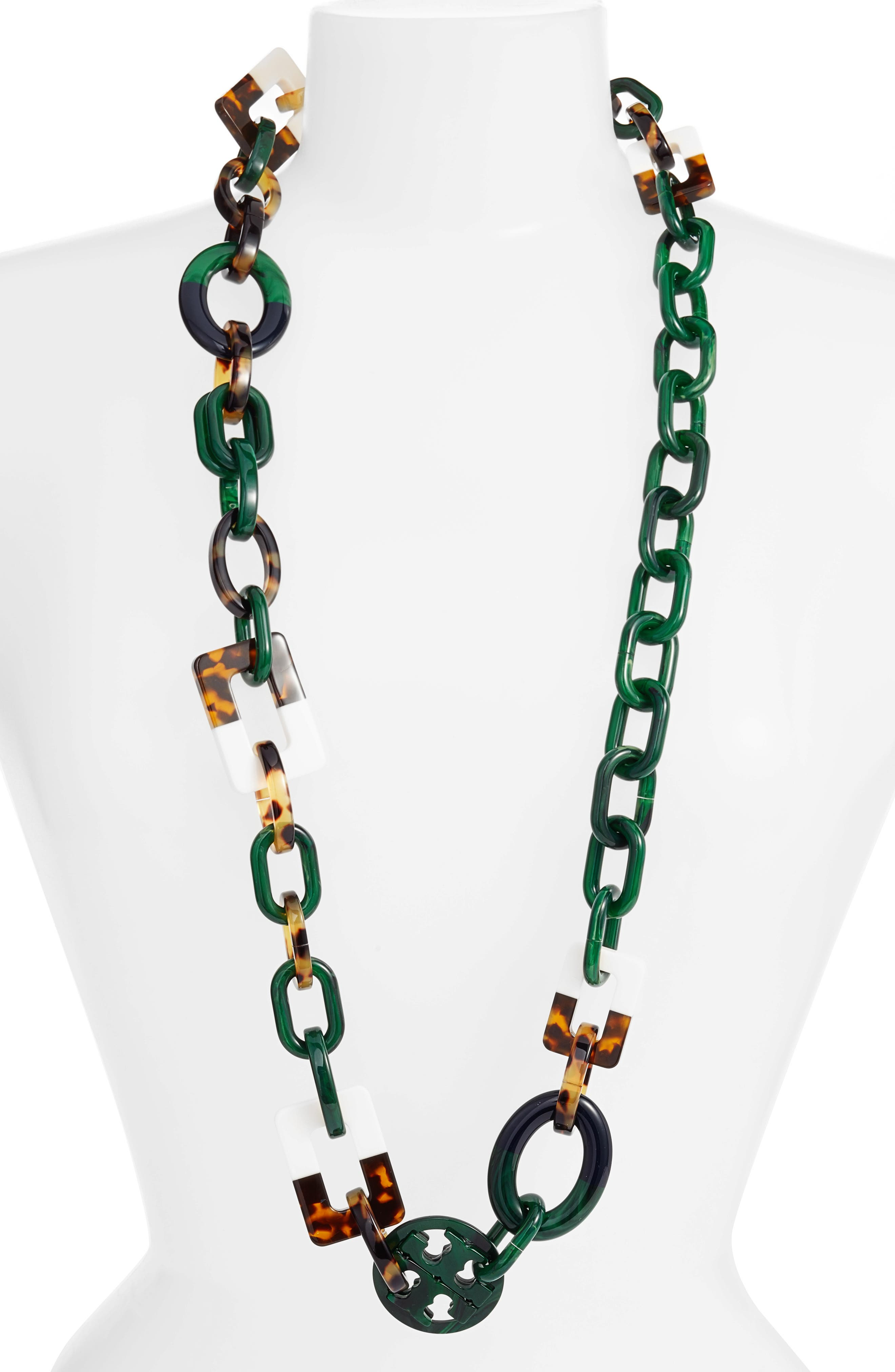 Resin Necklace,                         Main,                         color, Malachite/ Tory Navy